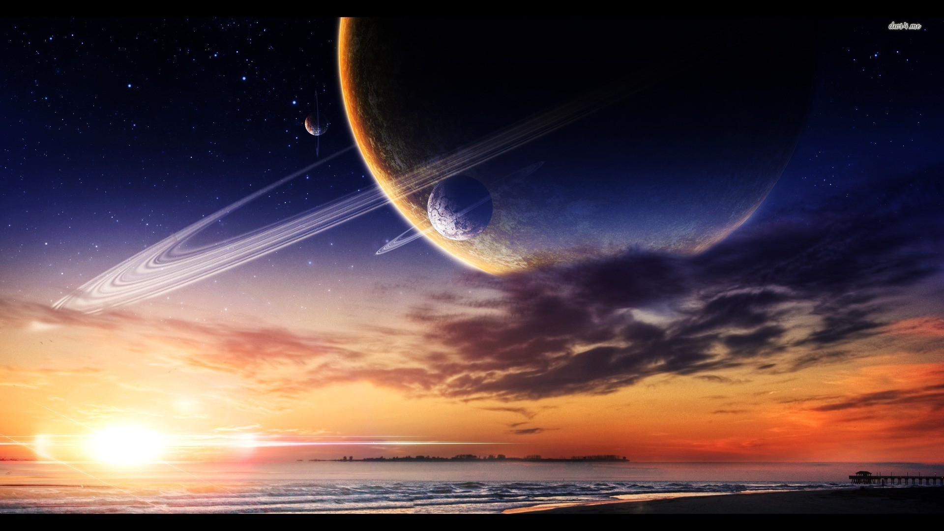 Res: 1920x1080, ... Planet site over the ocean wallpaper  ...