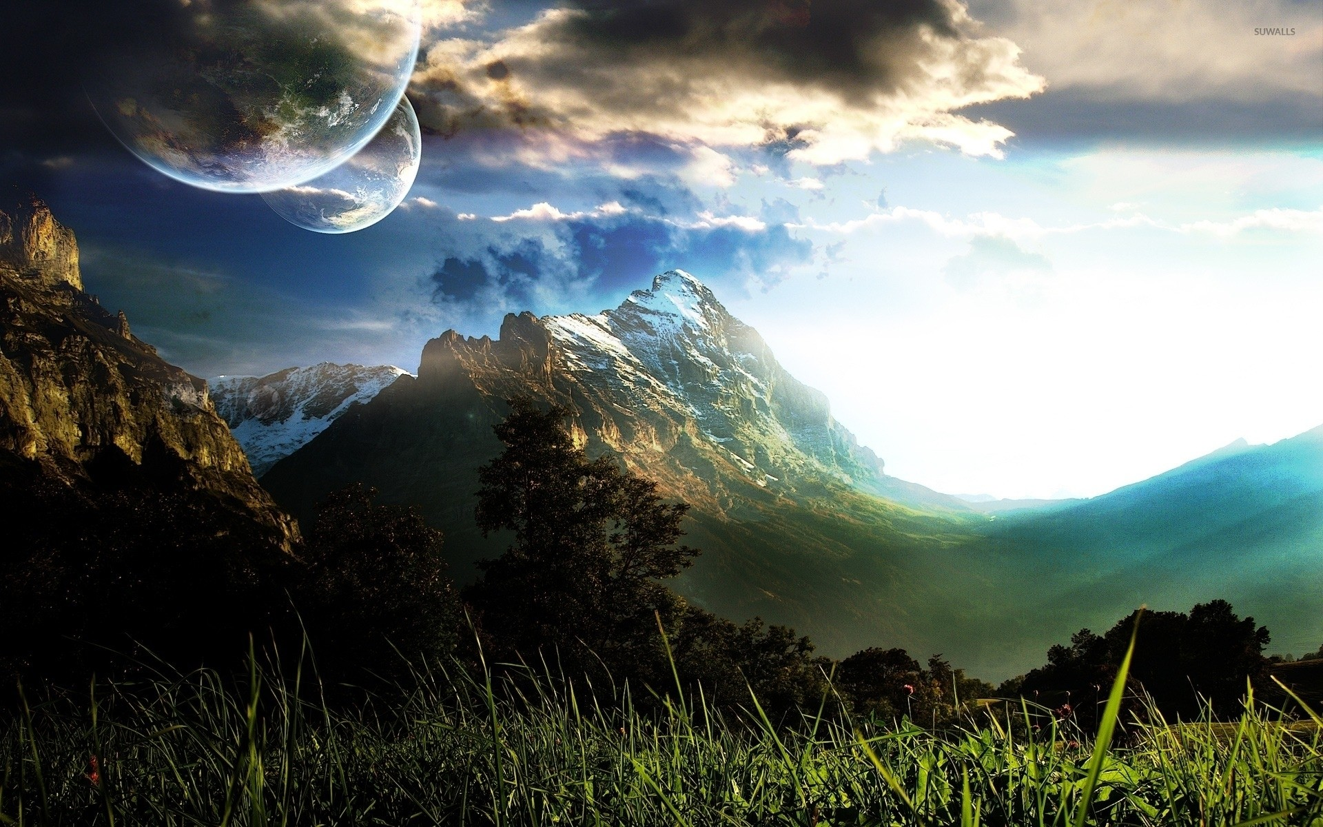 Res: 1920x1200, Planets over the mountains wallpaper