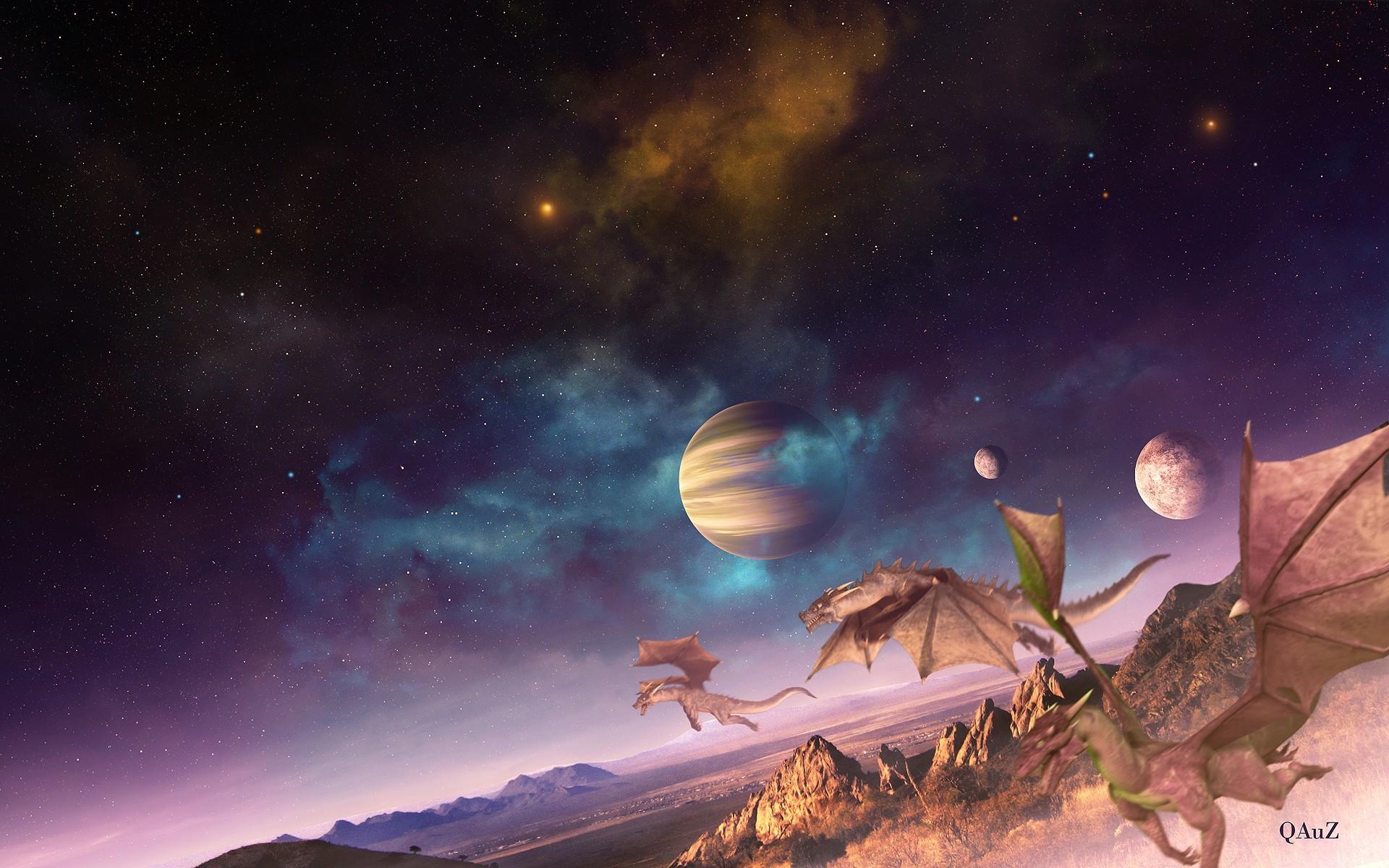 Res: 1920x1200, Outer space fantasy art digital art creatures dragons fantasy planets  landscapes wallpaper |  | 58929 | WallpaperUP