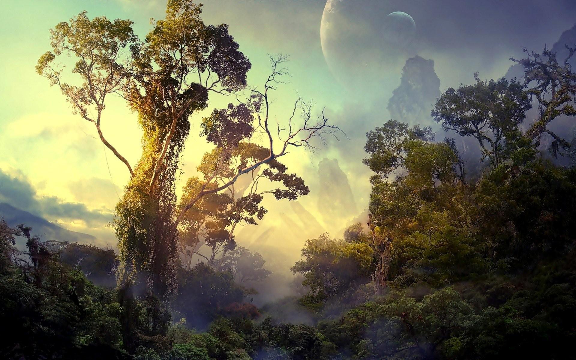Res: 1920x1200, Fantasy Planet Jungle Wallpaper
