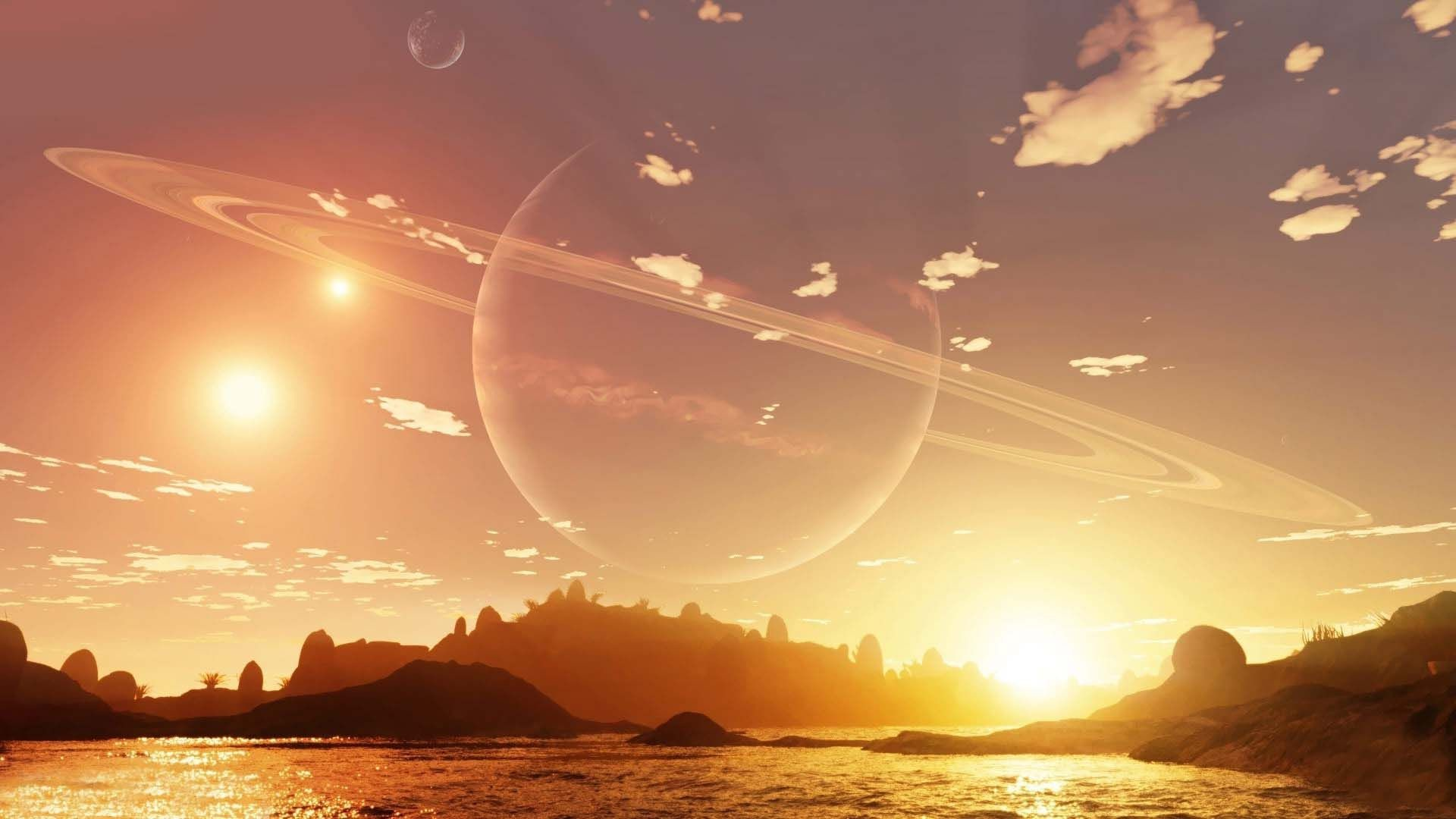 Res: 1920x1080, Planet In The Sky During The Day | HD Dreamy and Fantasy Wallpaper Free  Download ...