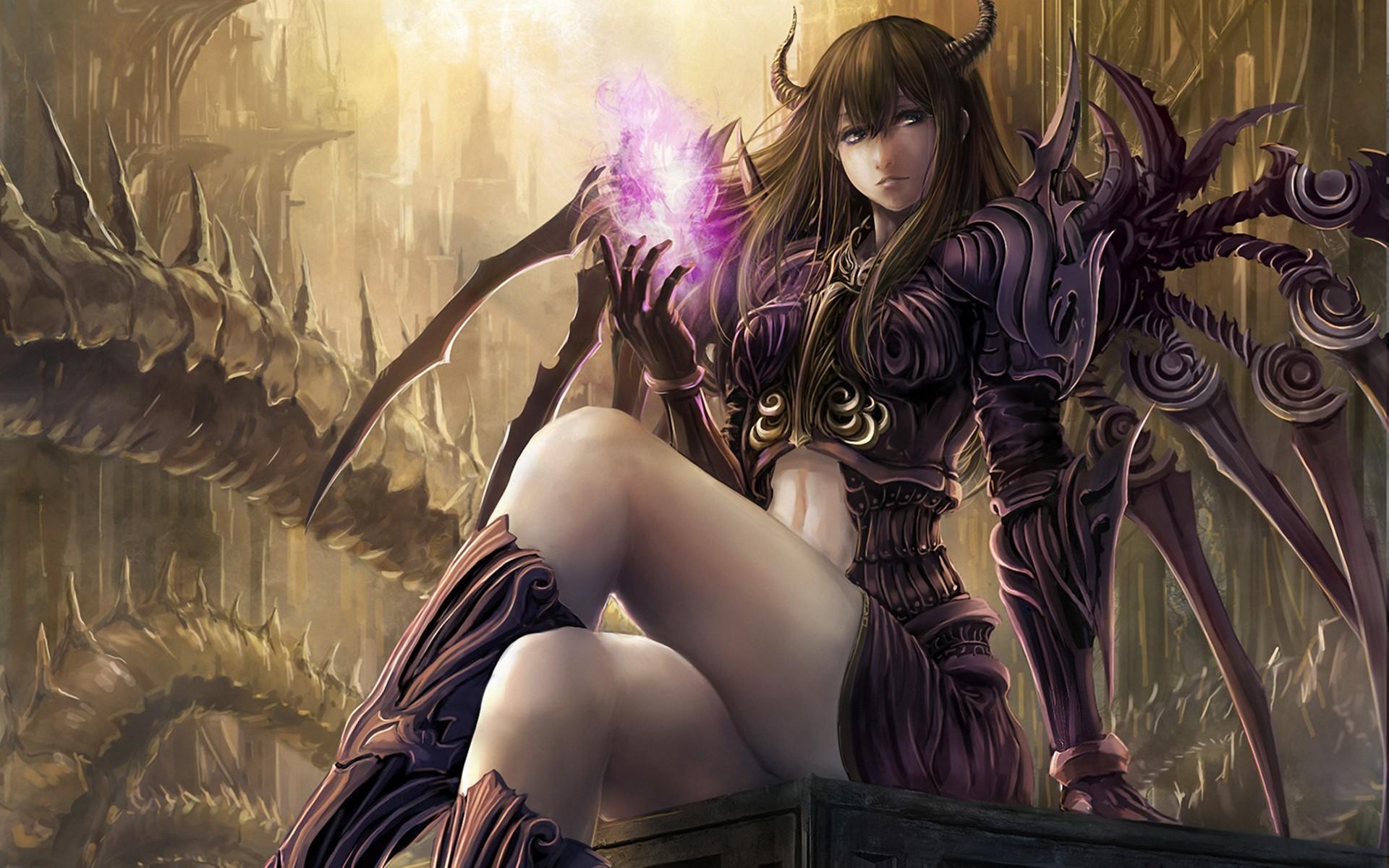 Res: 1920x1200, Art-Wallpaper-takakyo-girl-demon-horns-sitting-wings-magic.jpg
