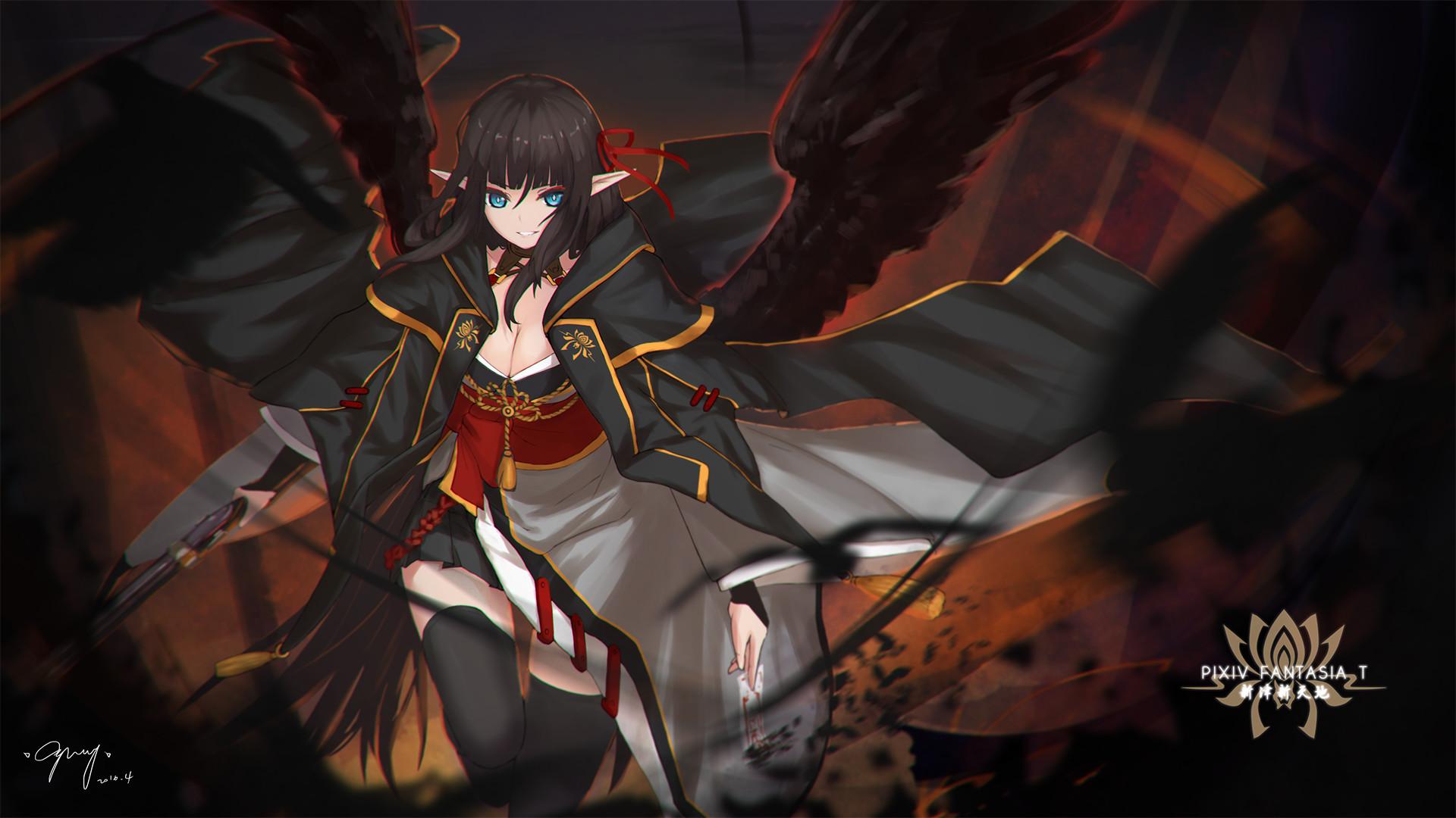 Res: 1920x1080,  - demon girl, wings, dark theme, elf ears # original resolution