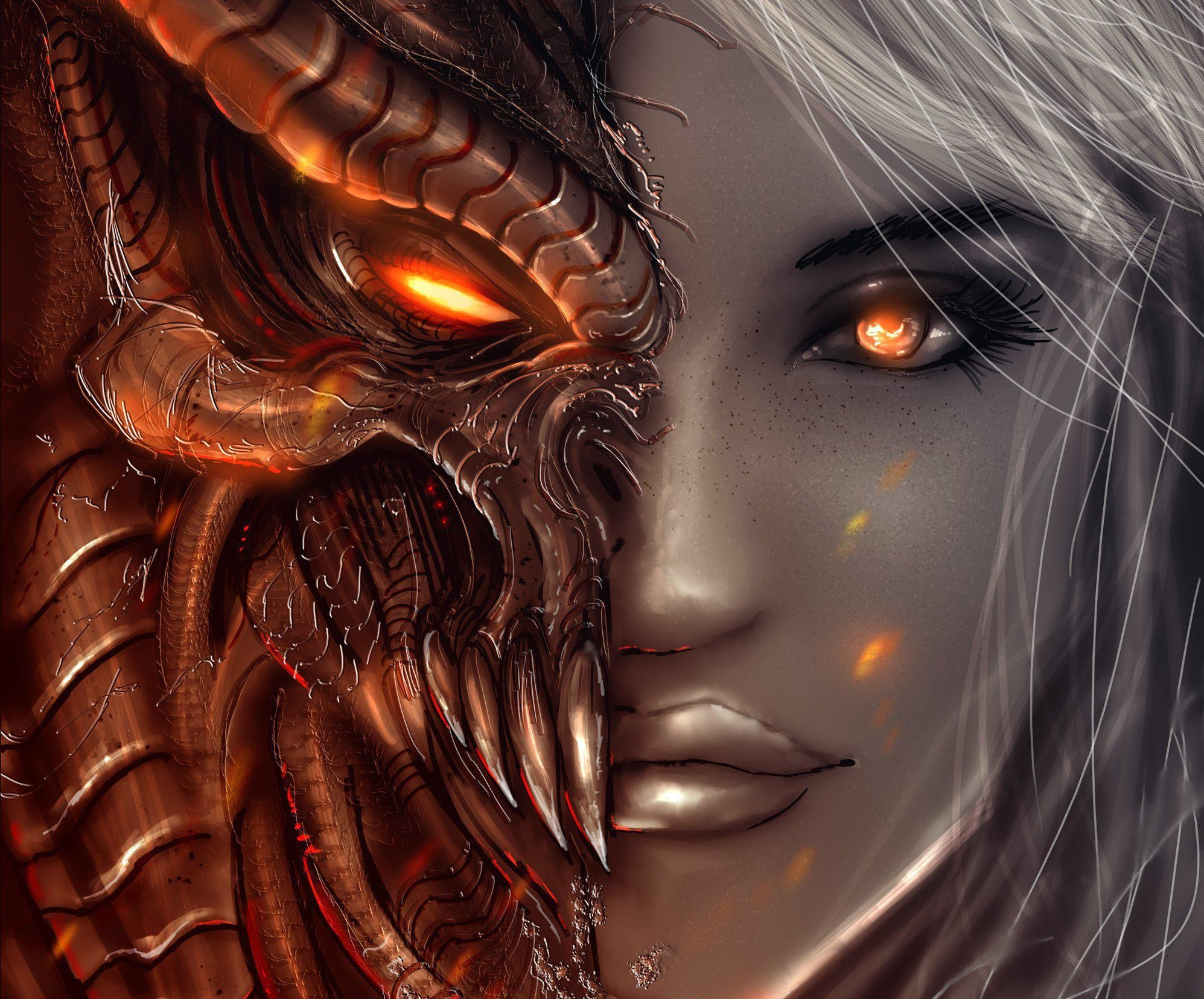 Res: 1995x1656, diablo 3, girl, art, angels, demons