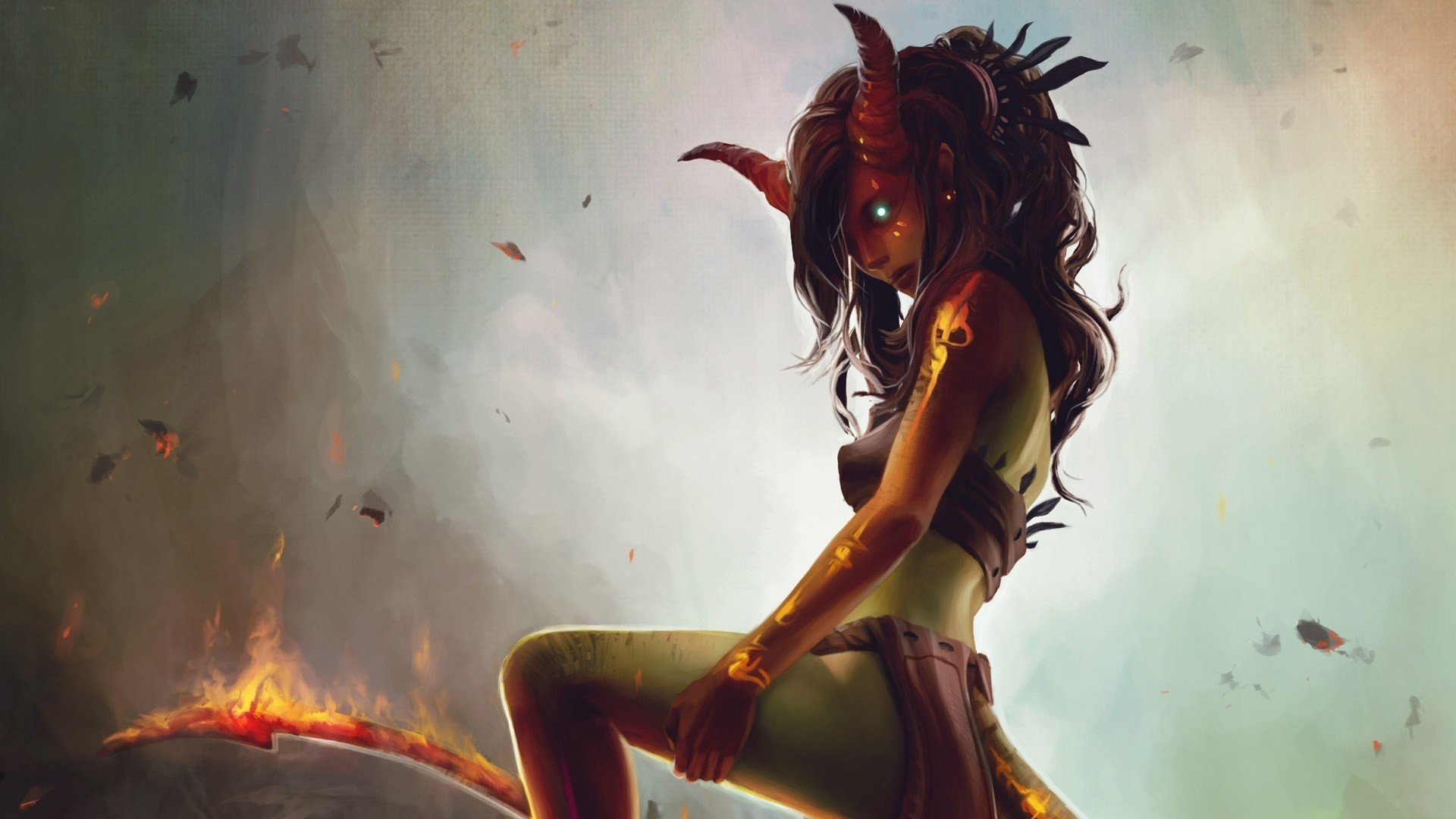Res: 1920x1080,  - demon girl, horns, tattoo, fire, shiny eyes, creature #