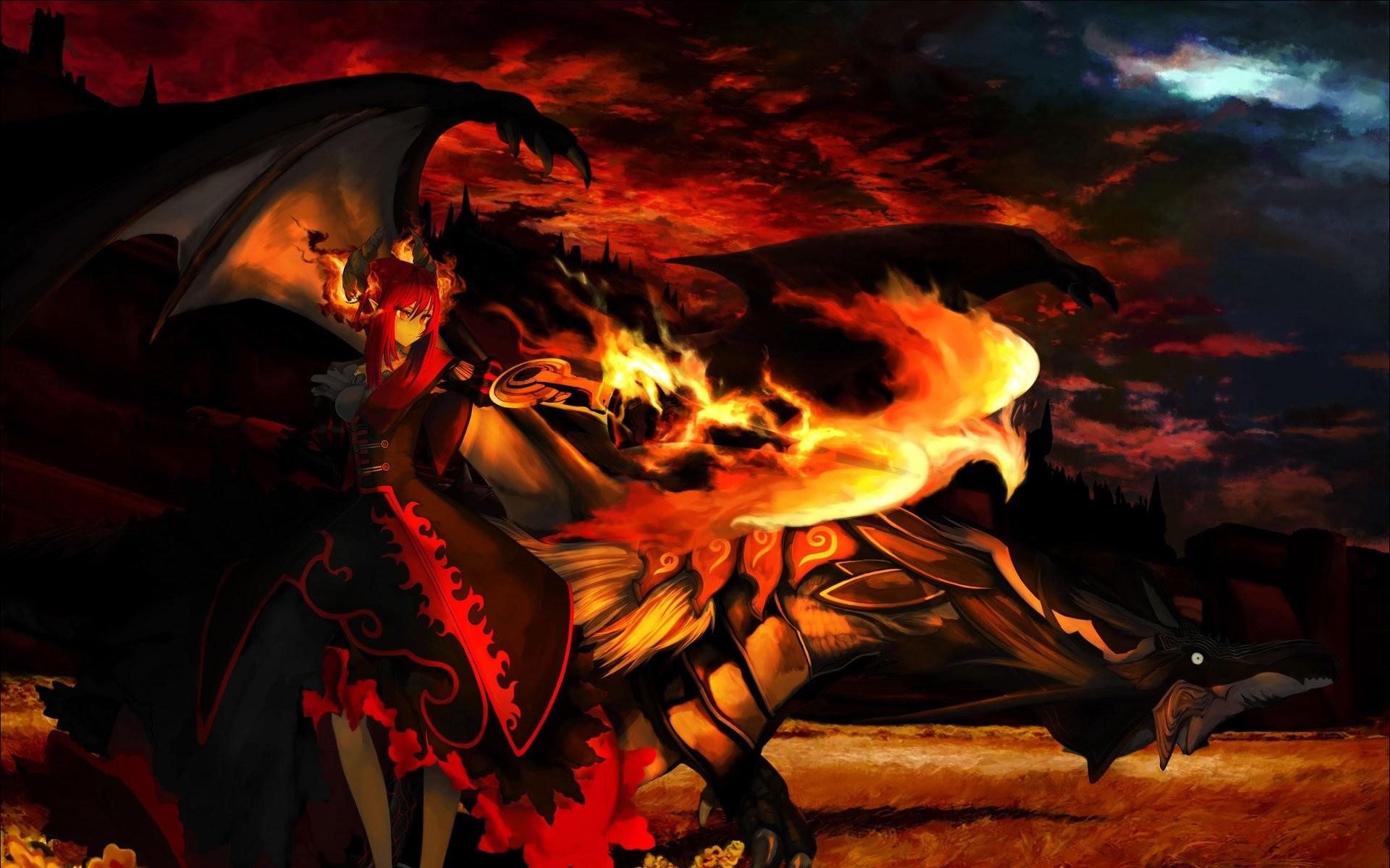 Res: 1920x1200, demon girl next to a dragon