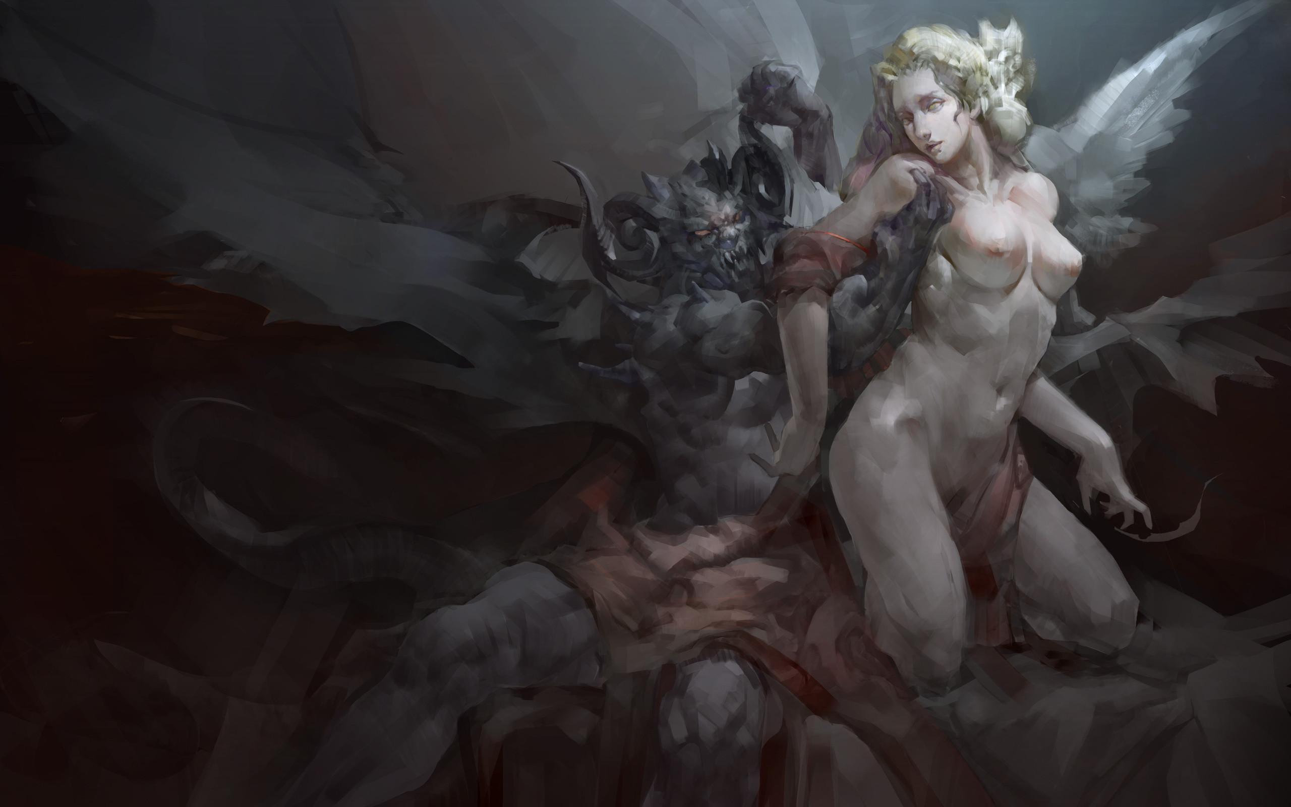 Res: 2560x1600, Art, Demon, Wings, Angel, Girl