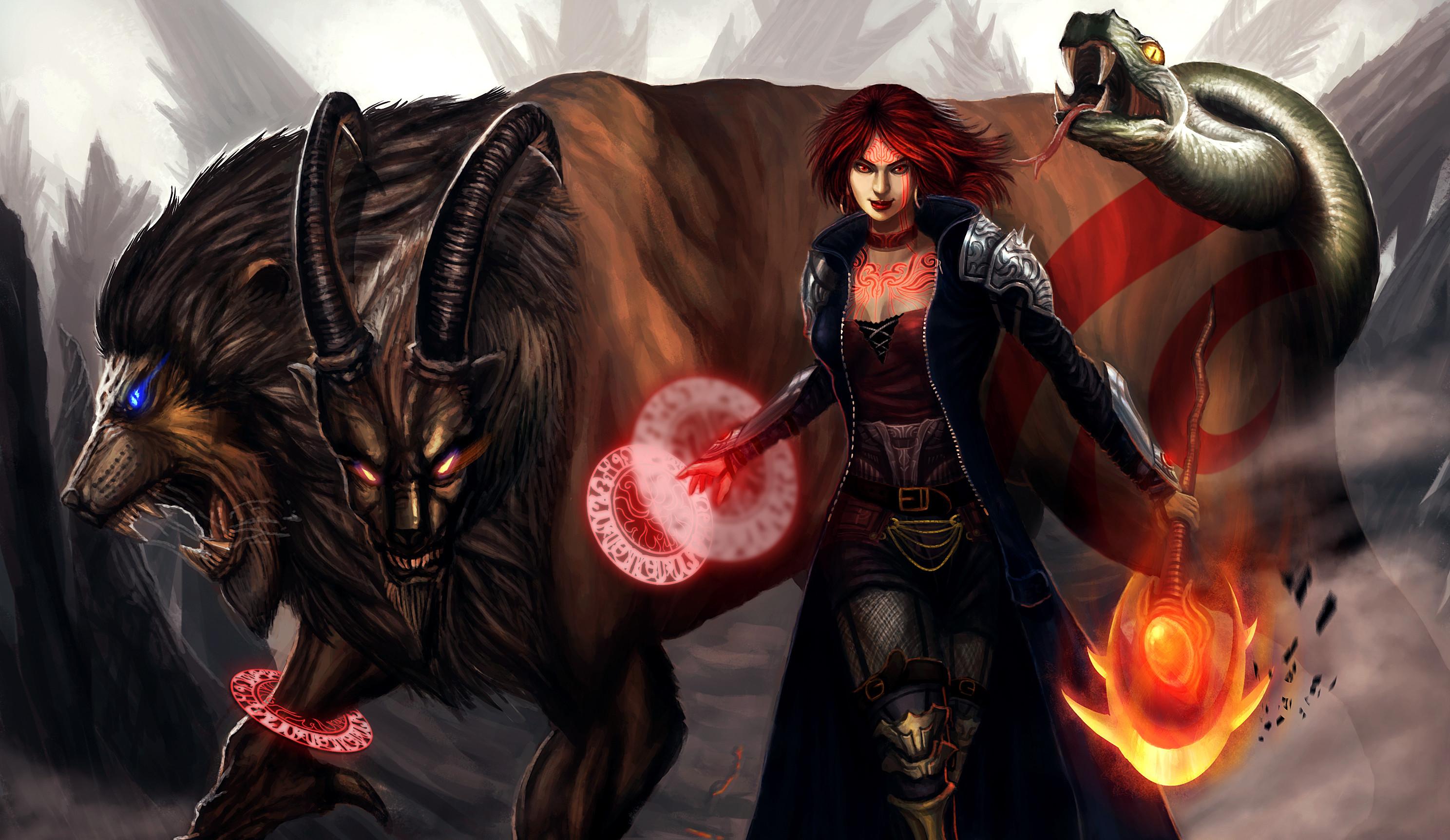 Res: 2976x1724, Magical animals Warriors Horns Torch magic demon creature monster girl  wallpaper |  | 133485 | WallpaperUP