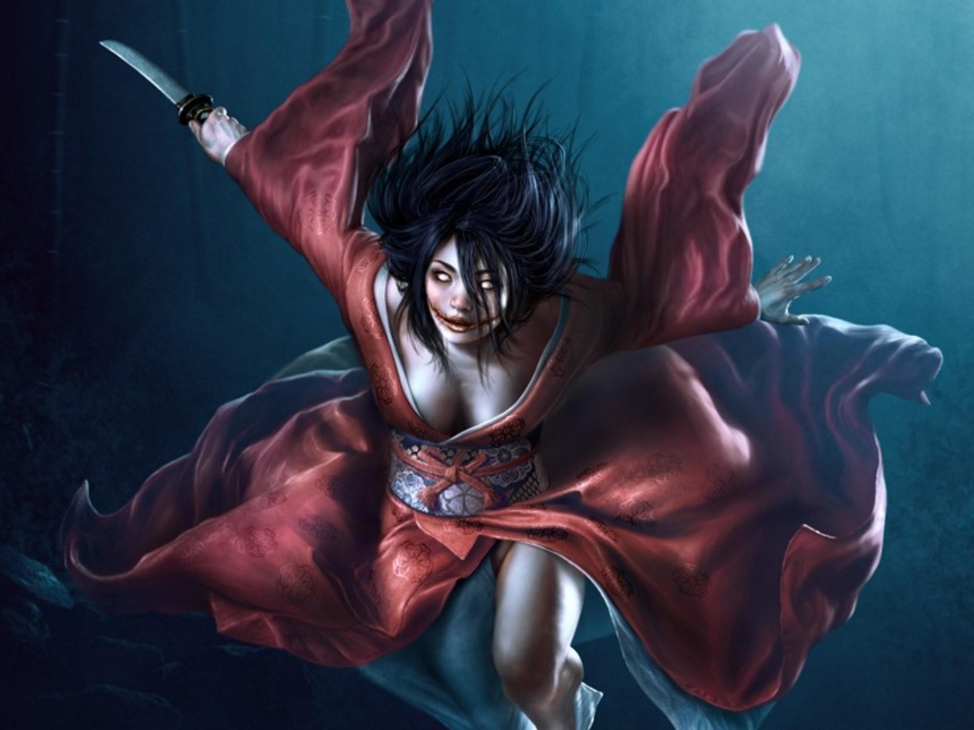 Res: 1920x1440, iphone, japanese, demon, woman,horror, monster, warrior, kimono,  artworks,free images, girl dark, art, mobile Wallpaper HD