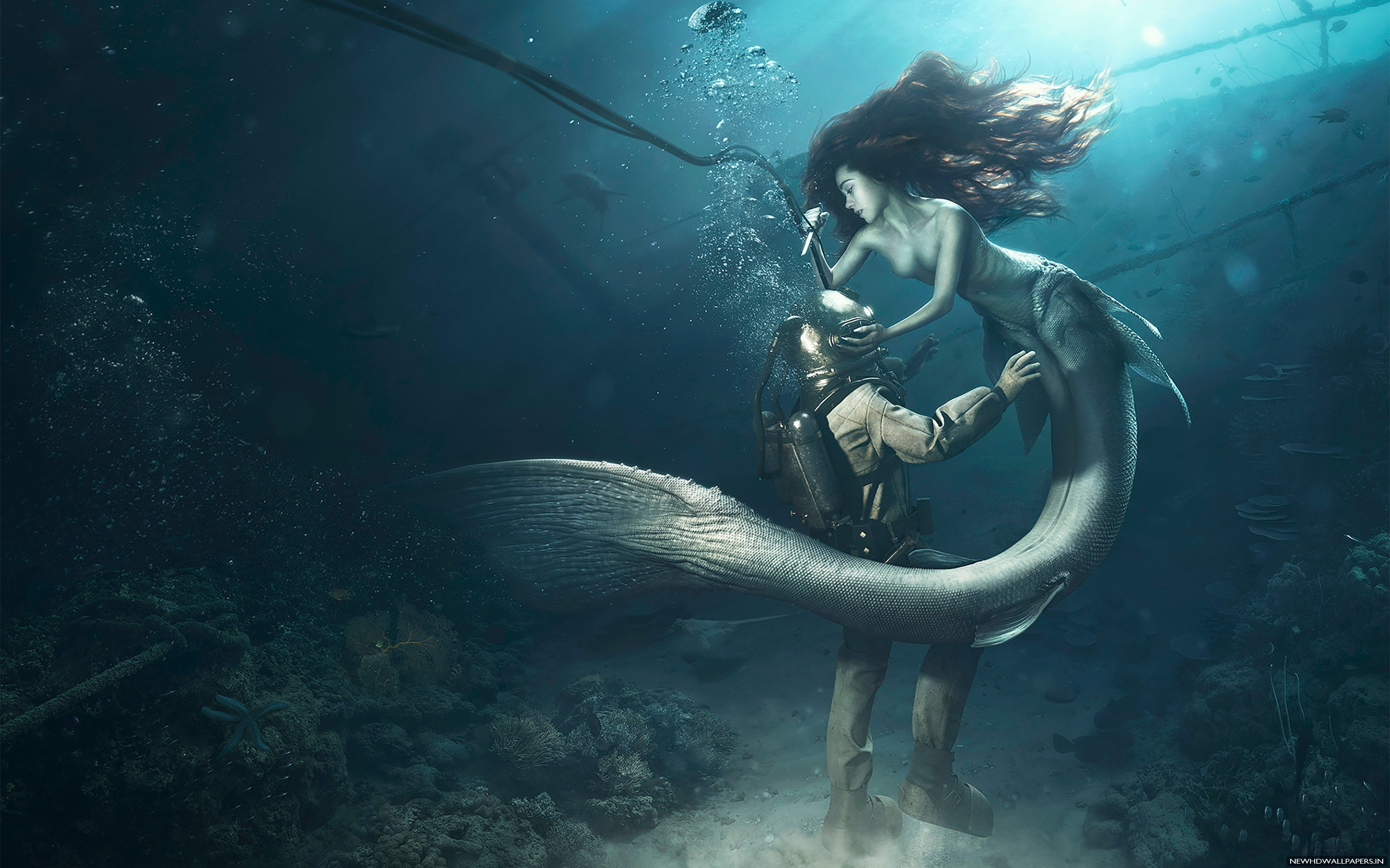 Res: 2880x1800, Creative Graphics Underwater Desktop Image