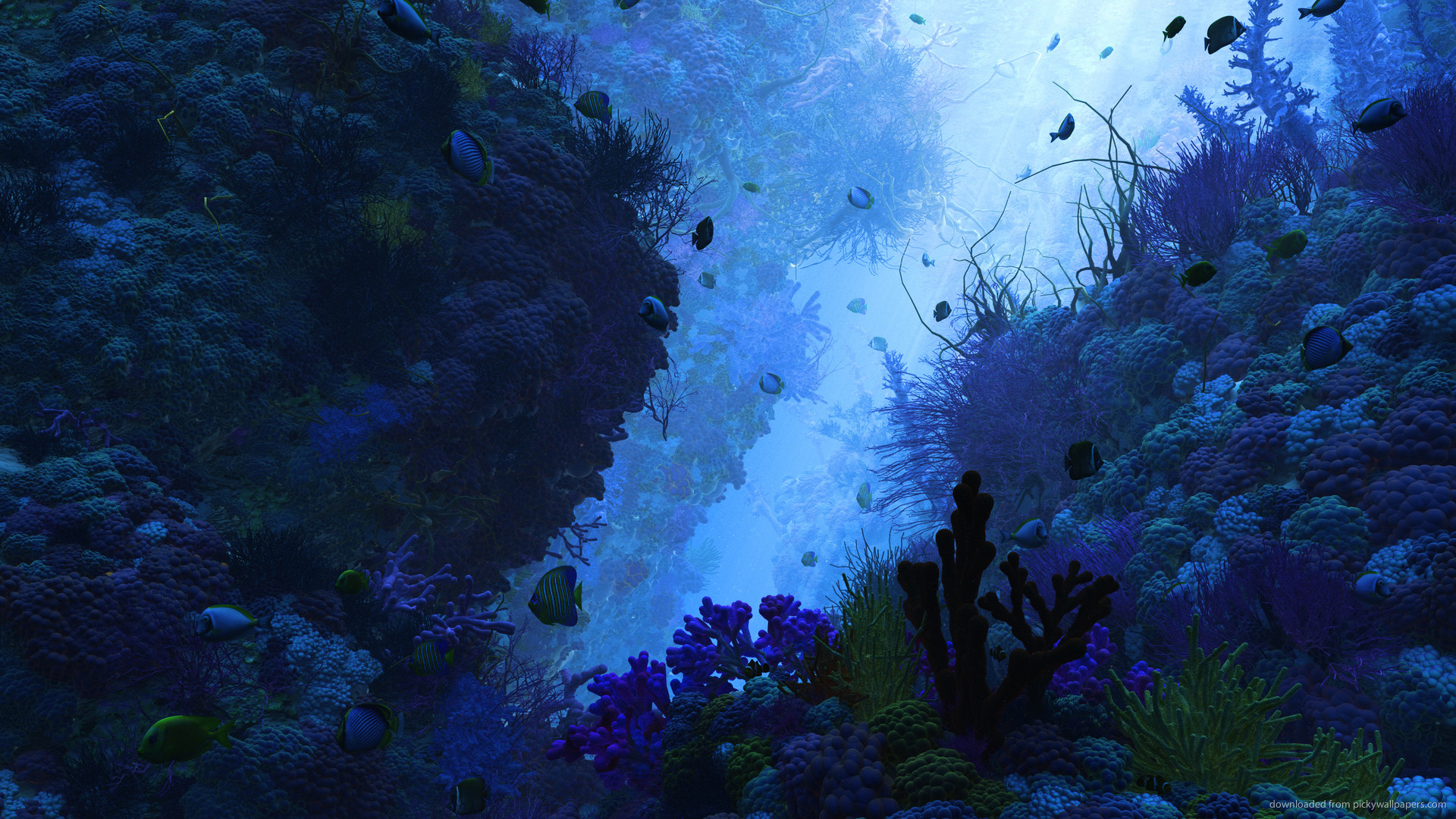Res: 1920x1080, 3D underwater render wallpapers.