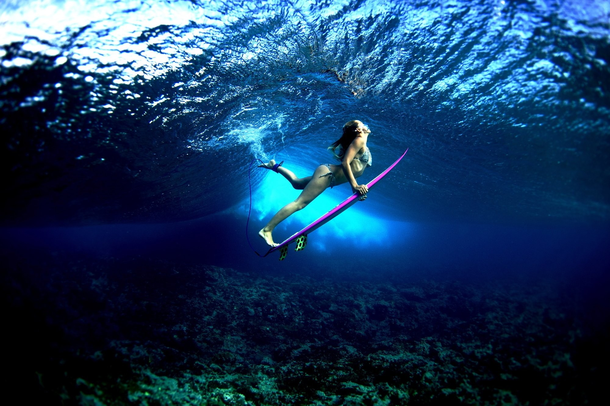 Res: 2000x1331, board ocean girl surf surfing bikini sexy babe underwater wallpaper