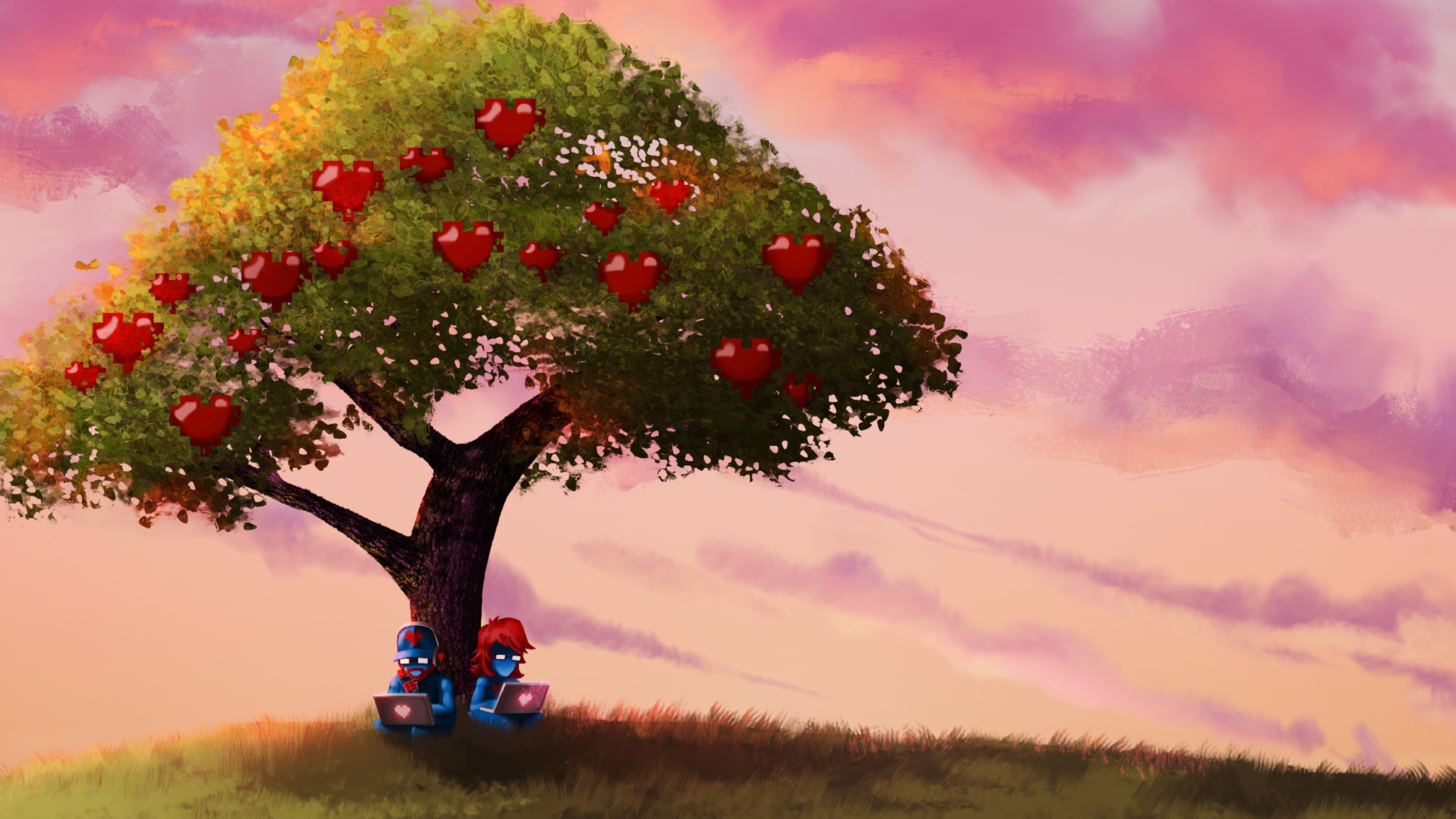 Res: 3840x2160, monstercat pegboard nerds trees sky fruit apples computer Wallpapers HD /  Desktop and Mobile Backgrounds