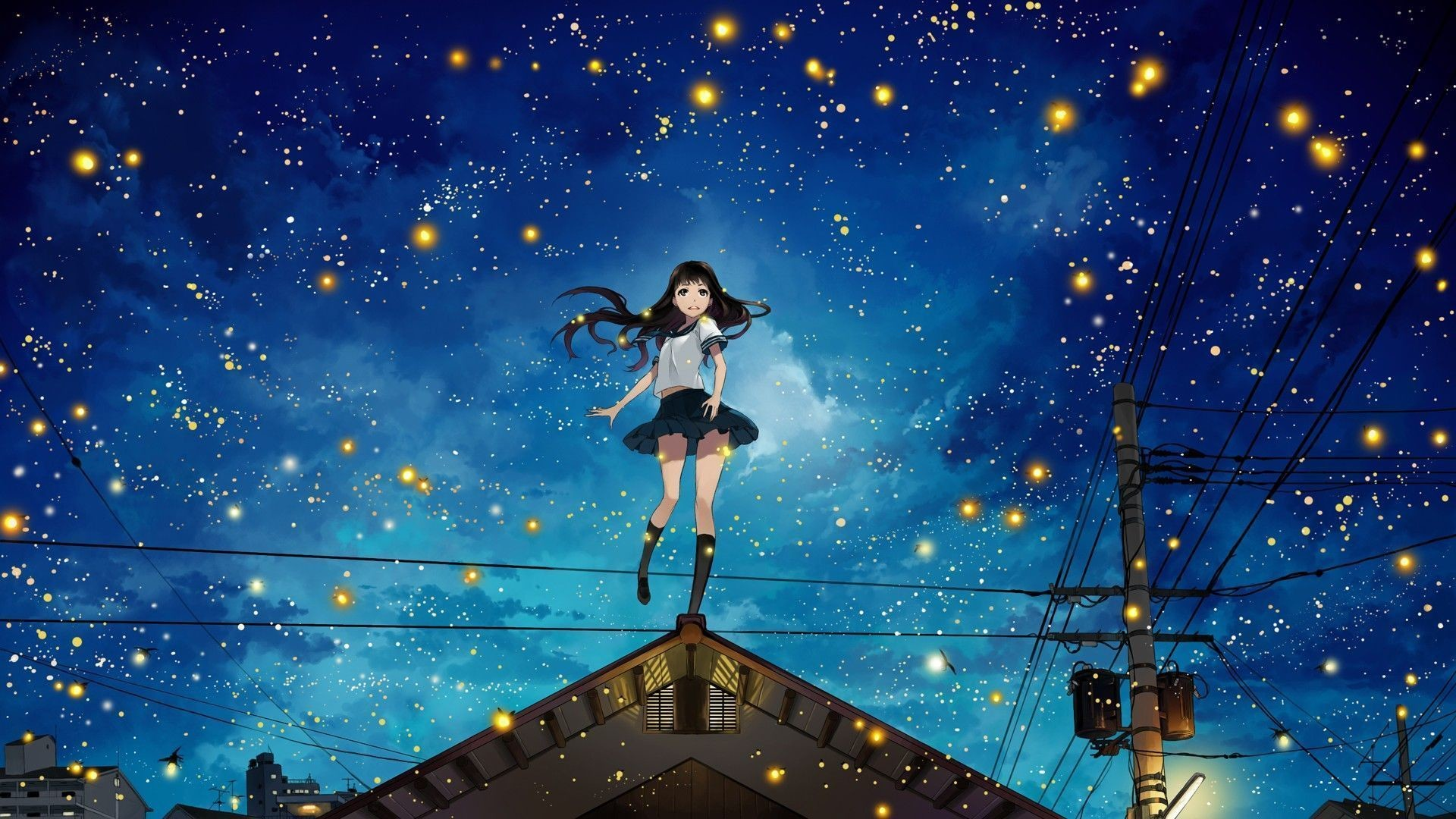 Res: 1920x1080, Anime Girls at Night Sky HD Wallpaper » FullHDWpp - Full HD .