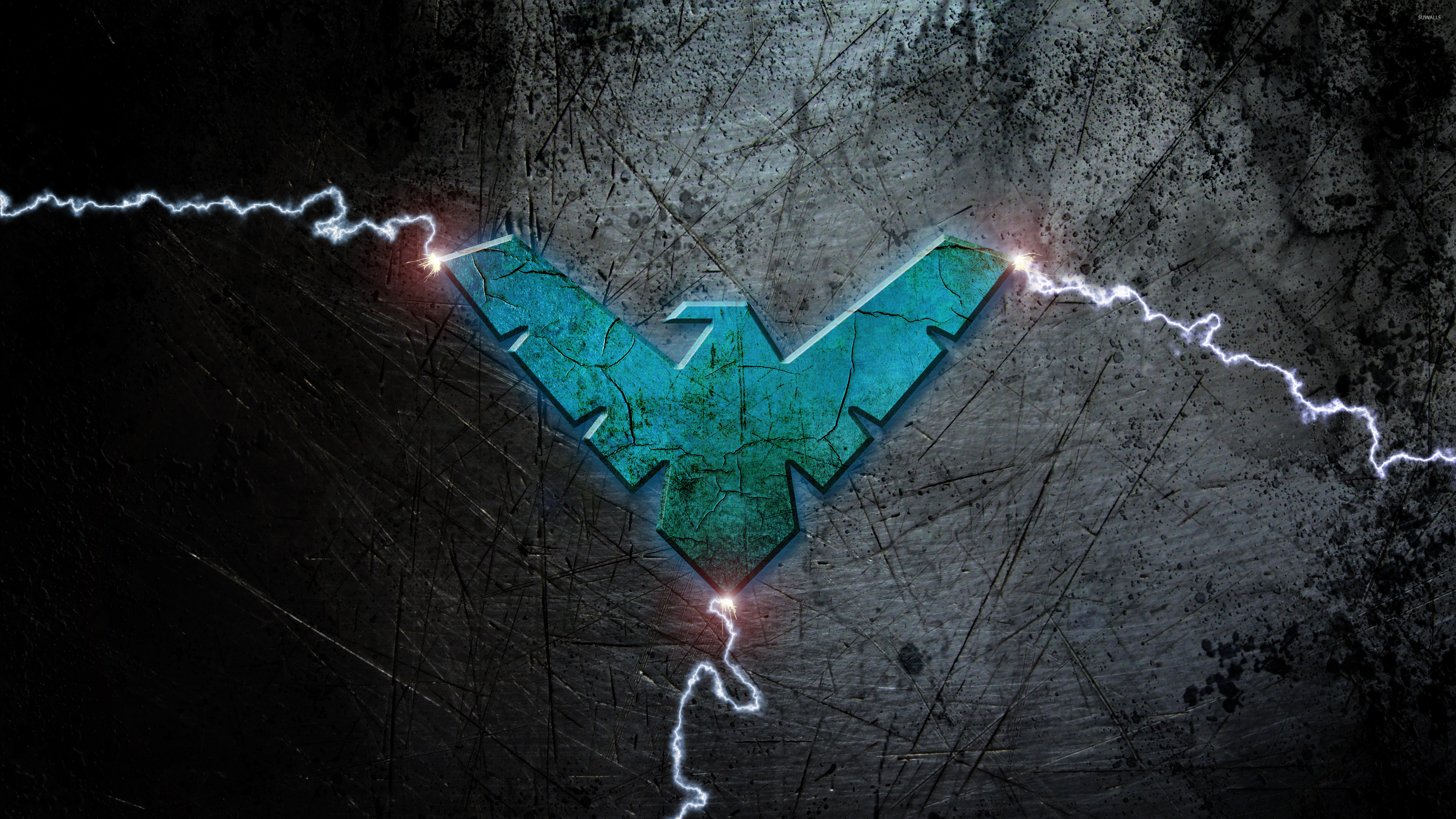 Res: 3840x2160, Blue Nightwing logo with lightning wallpaper