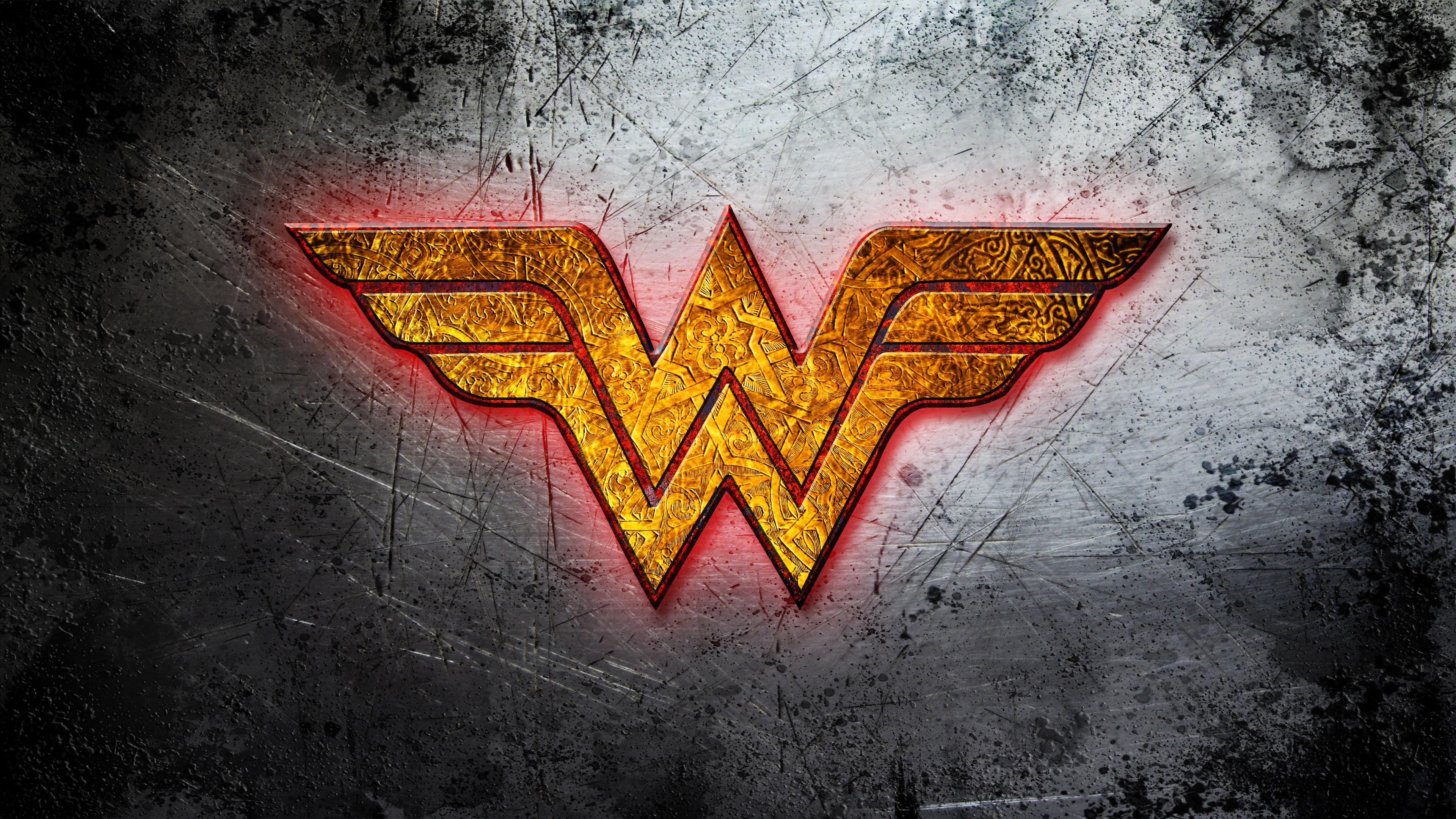 Res: 3840x2160, Wonder Woman golden logo wallpaper