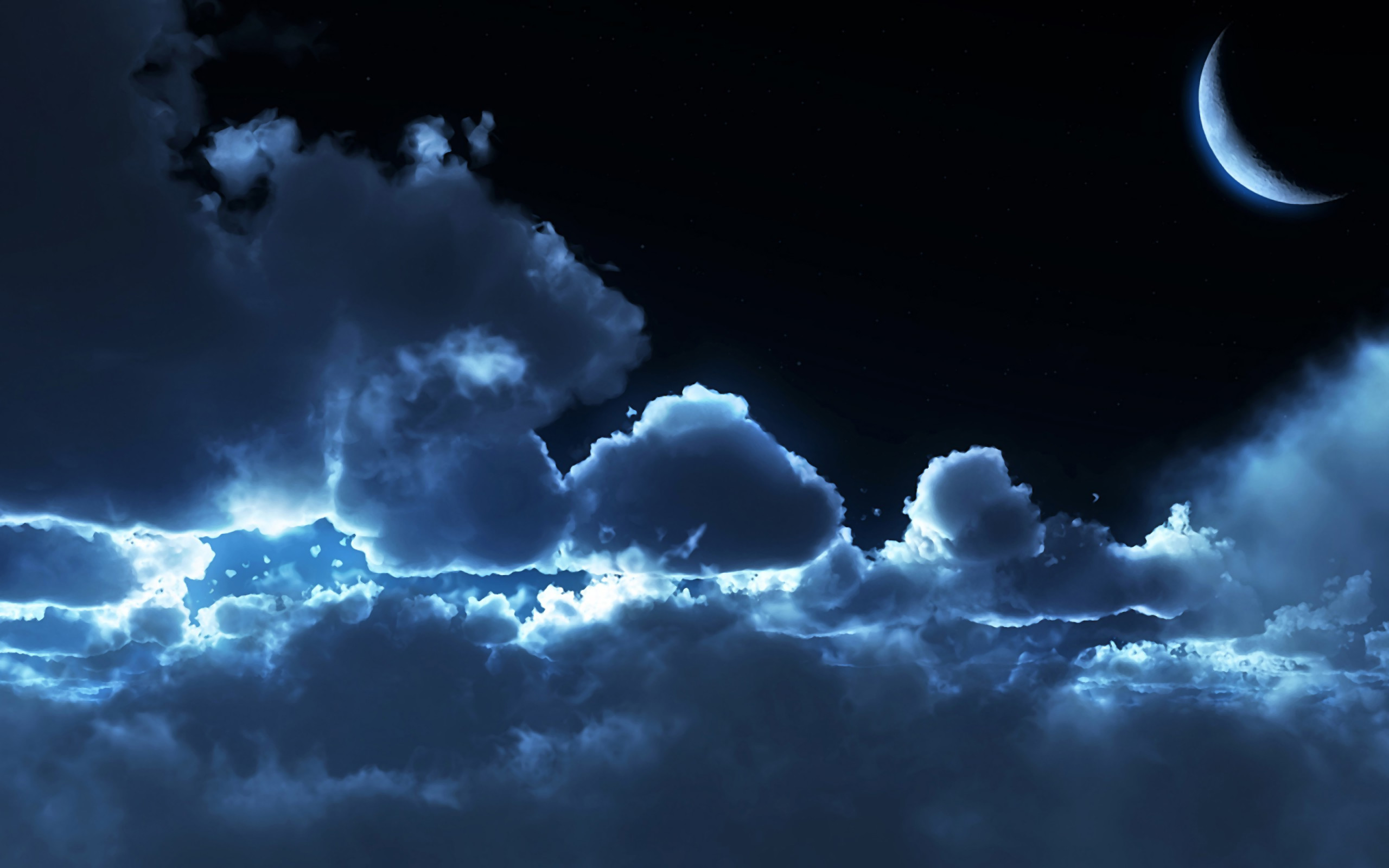 Res: 2560x1600, Night clouds moon wallpaper.