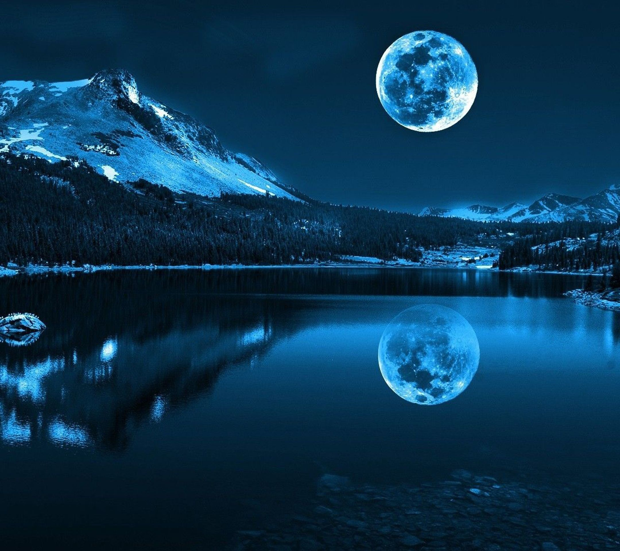 Res: 2160x1920, Night view is depicted in the mountains. Above the dark water of the lake  can be seen the Moon. From the left are high mountains, which tops covered  with ...