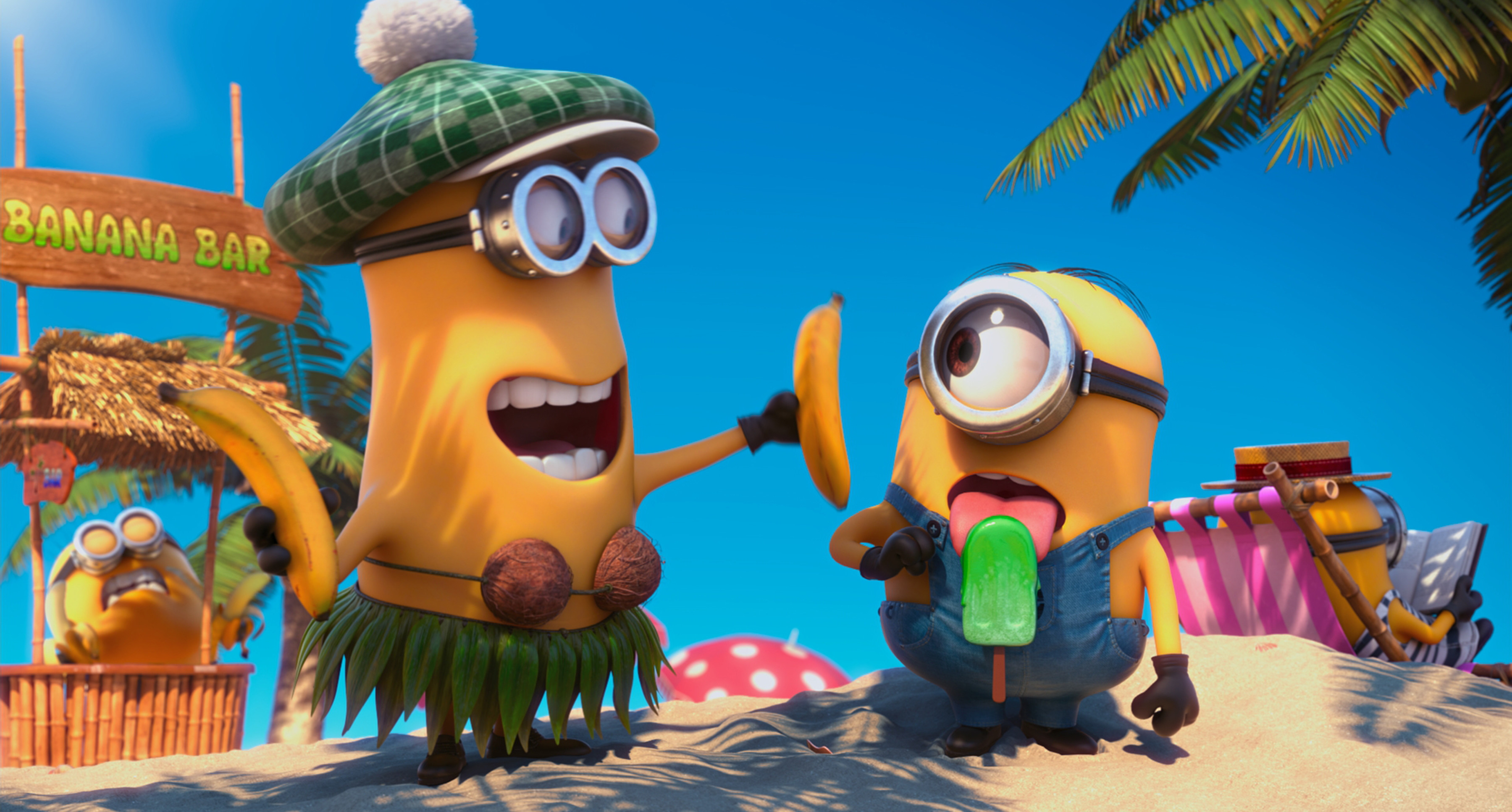 Res: 3600x1933, Funny Minions Banana HD Wallpaper image and save image as click save