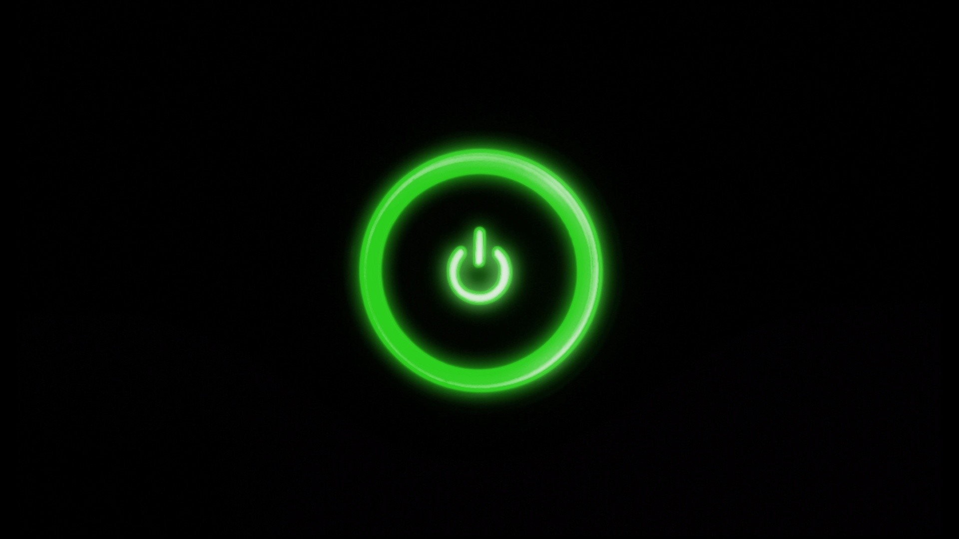 Res: 1920x1080, Black Background Dark Green Power Button Simple - WallDevil