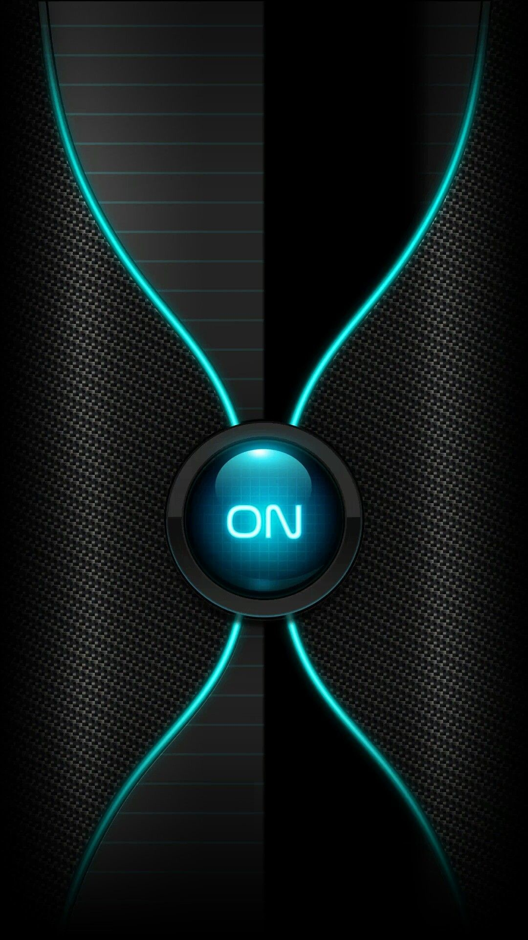 Res: 1080x1920, Black with Neon Teal Power Button Wallpaper