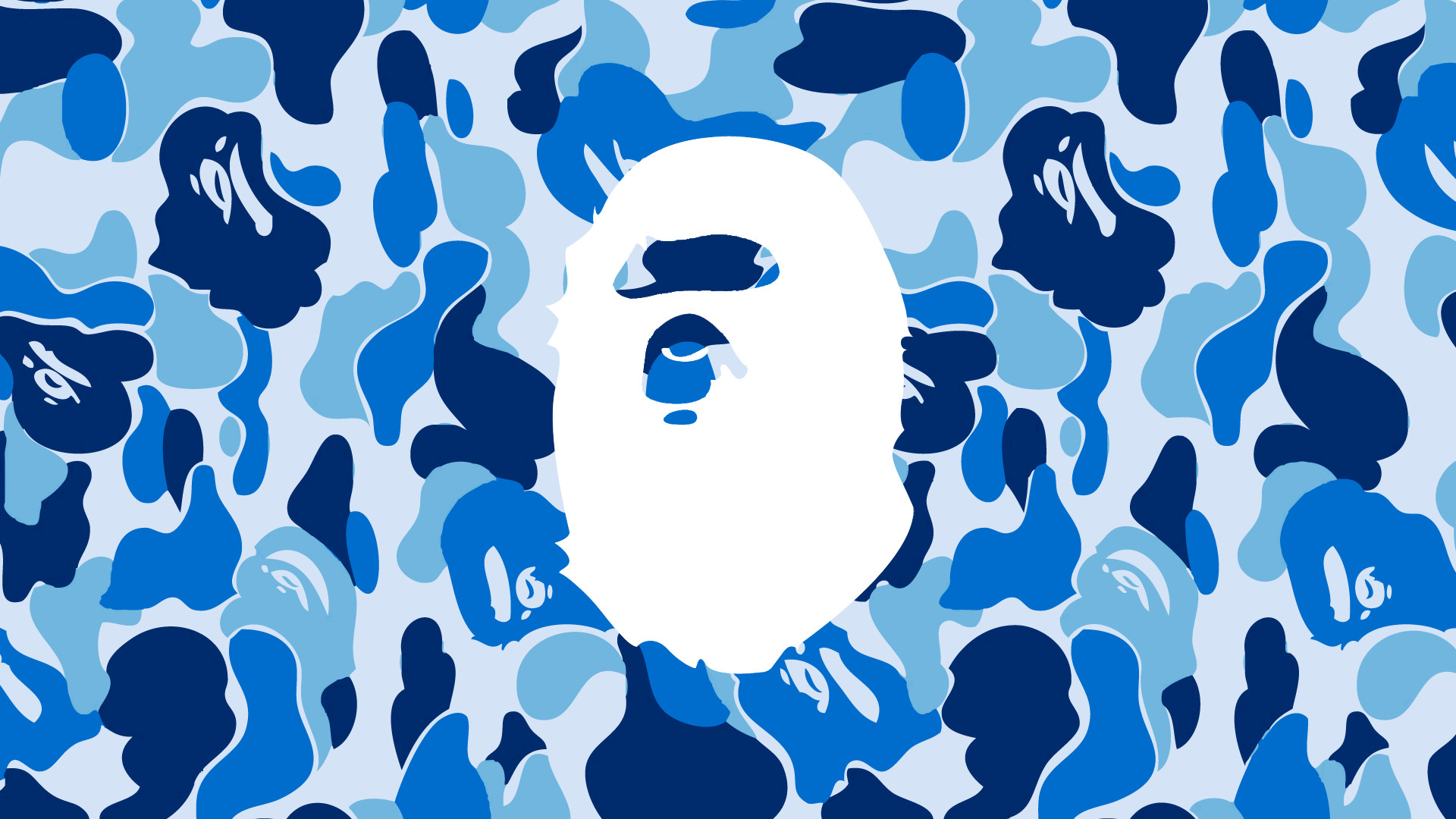 Res: 1920x1080, 2/3 Bape Reverse Blue Camo Ape Head wallpaper