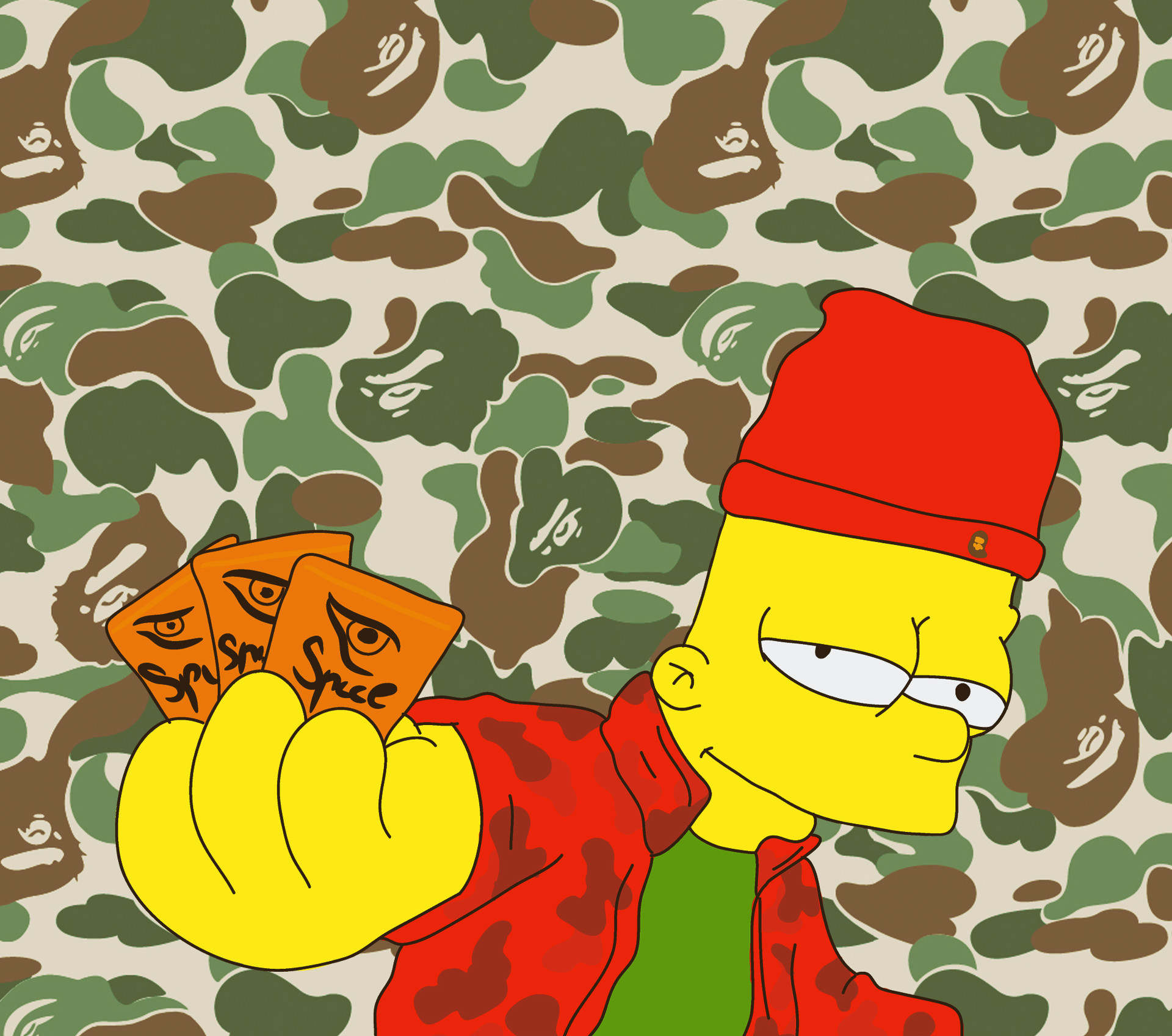 Res: 1920x1696, Artstation Bart Simpson Dealer X Bape Roman Bidnyy