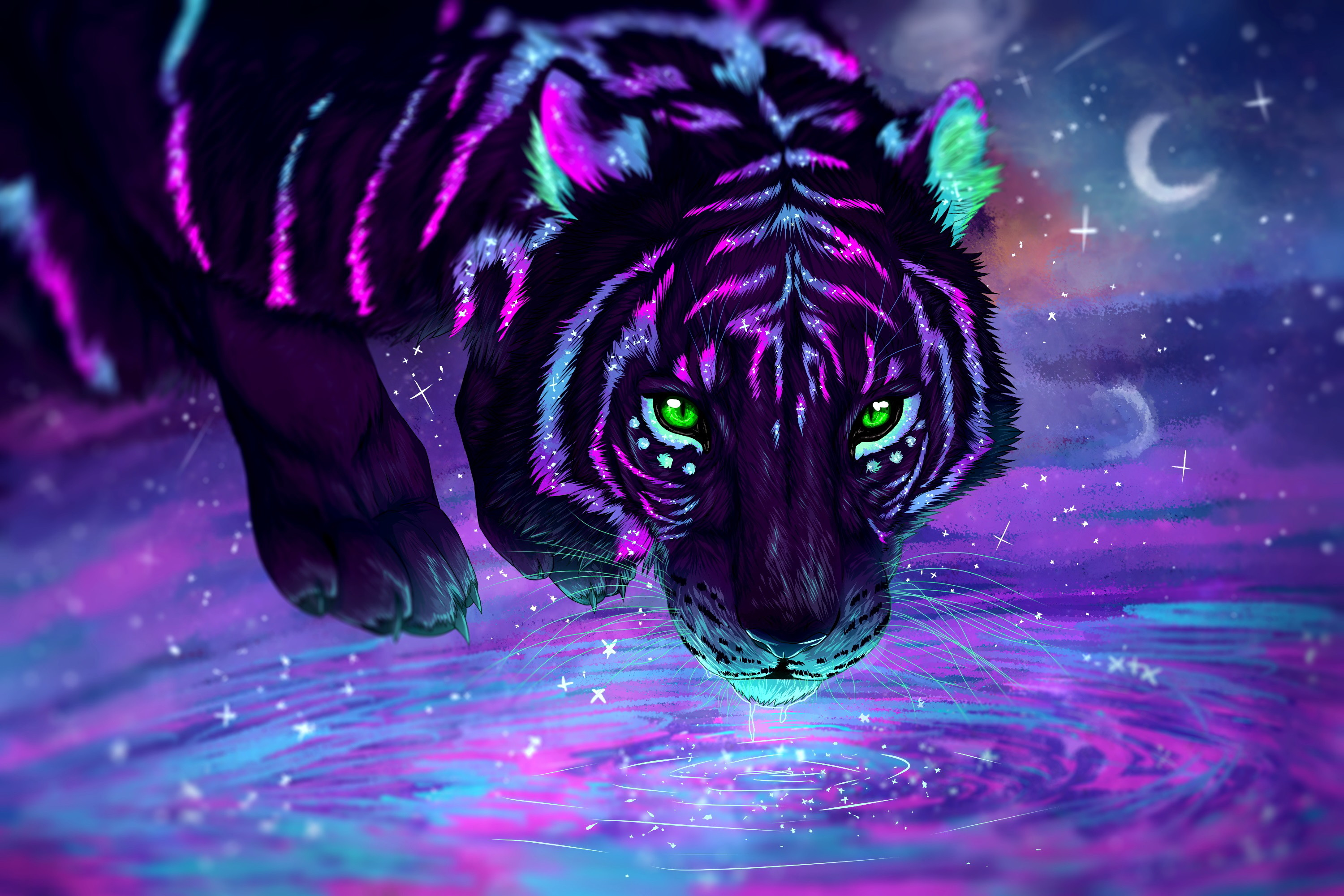 Res: 3000x2001, Fantastic neon tiger with green eyes at the watering hole
