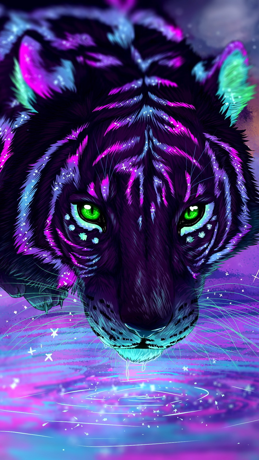 Res: 1080x1920, Neon Tiger Wallpaper 13
