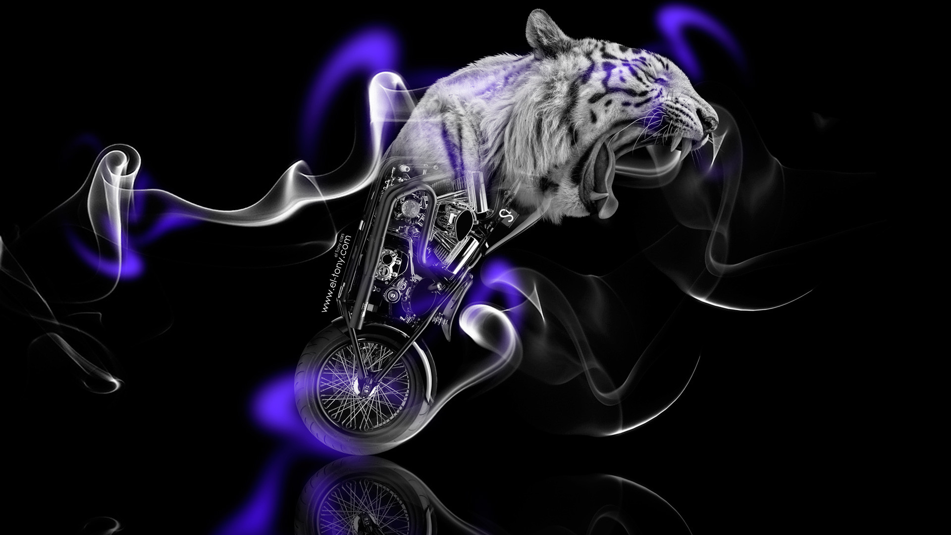 Res: 1920x1080, Fantasy-Moto-Tiger-Smoke-Bike-2014-Violet-Neon-