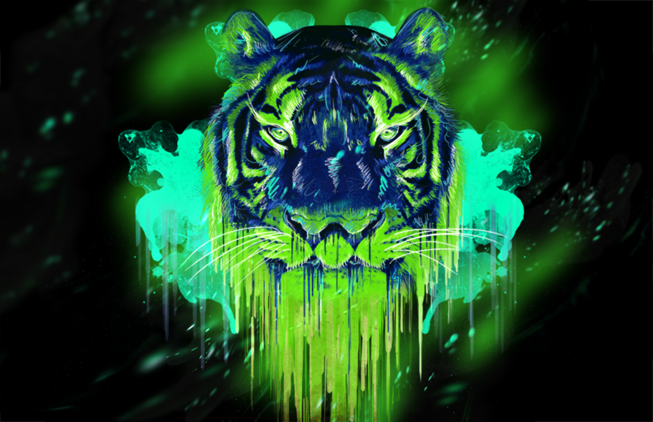 Res: 2211x1431, NEon Tiger modificado para Proyect original DIgital ·PSD