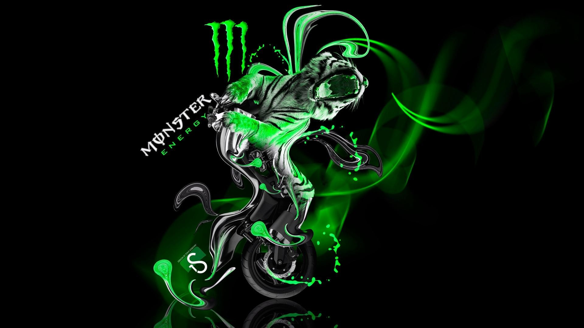 Res: 1920x1080,  Wallpapers-Monster-Energy-Moto-Yamaha-Vmax-Fantasy-Green
