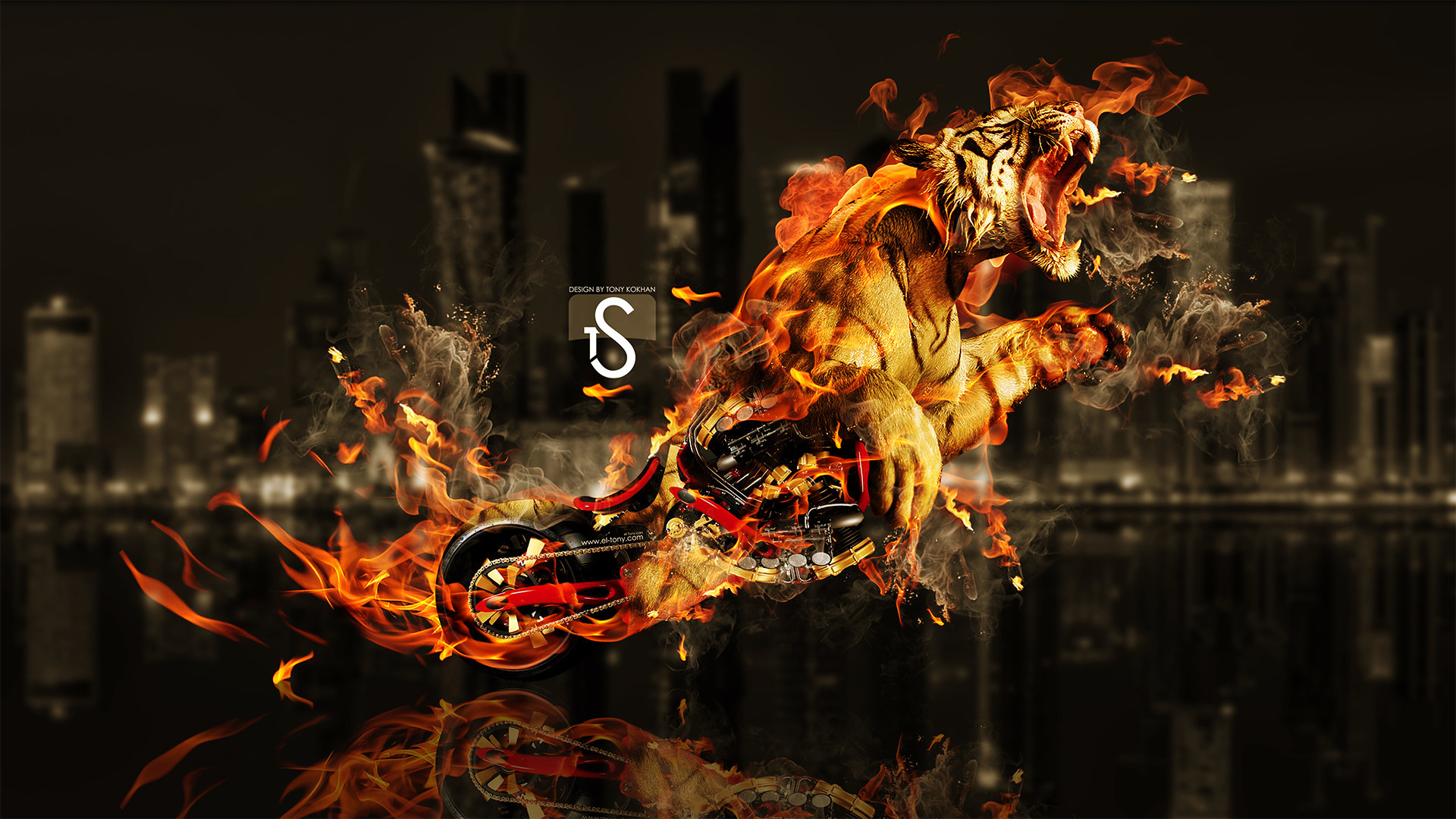 Res: 1920x1080, Tiger in Fire Wallpaper
