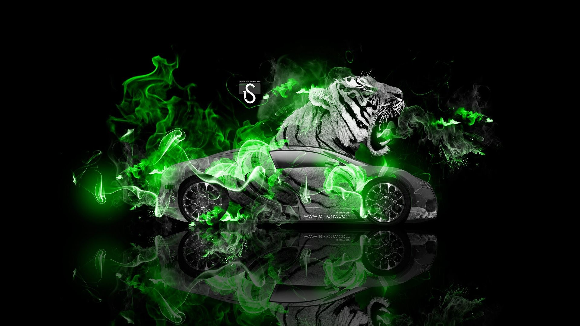 Res: 1920x1080, Bugatti Veyron Fantasy Tiger Fire Car 2014 Â« el Tony