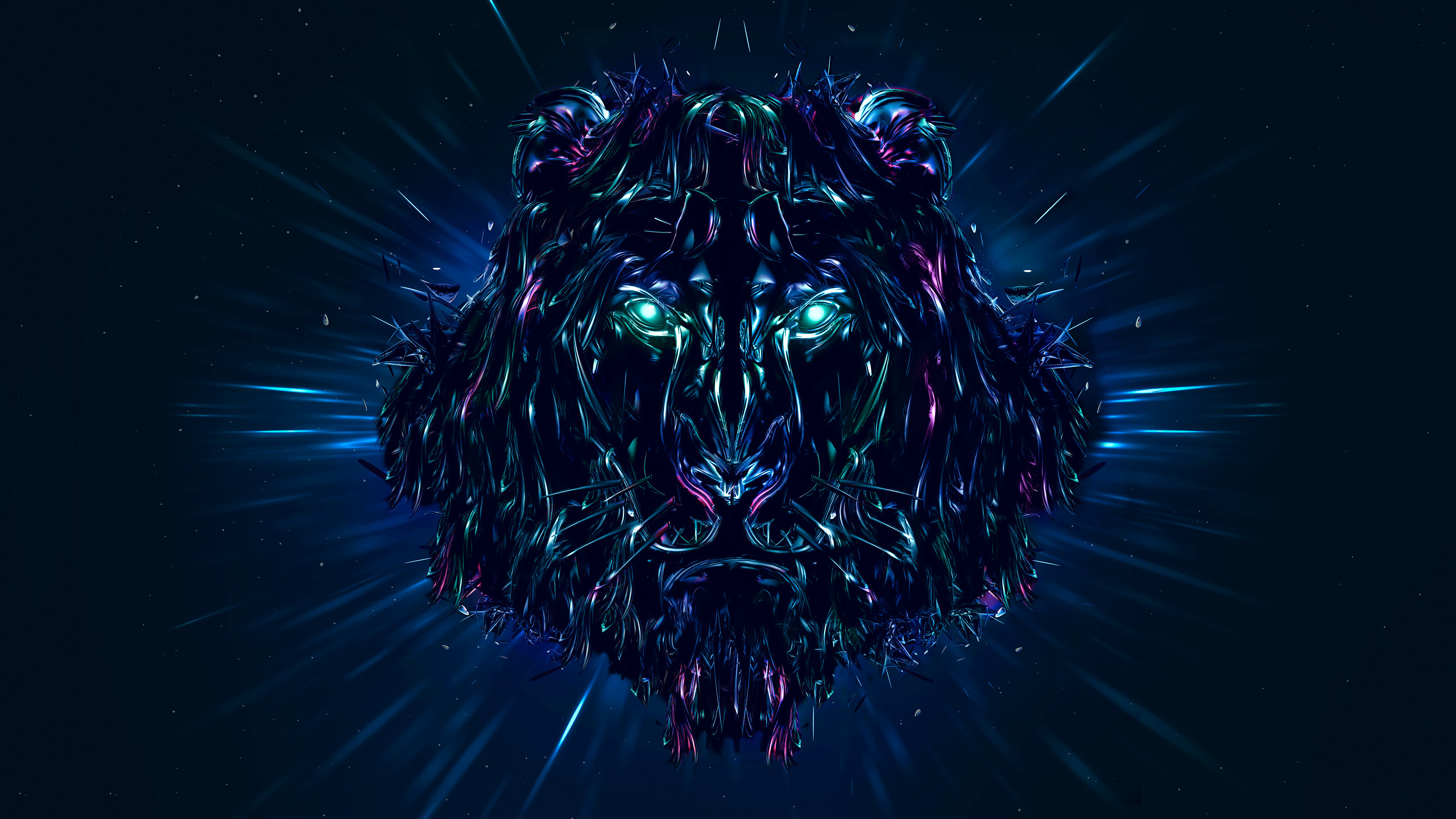 Res: 2560x1440, Neon Lion 3d graphics