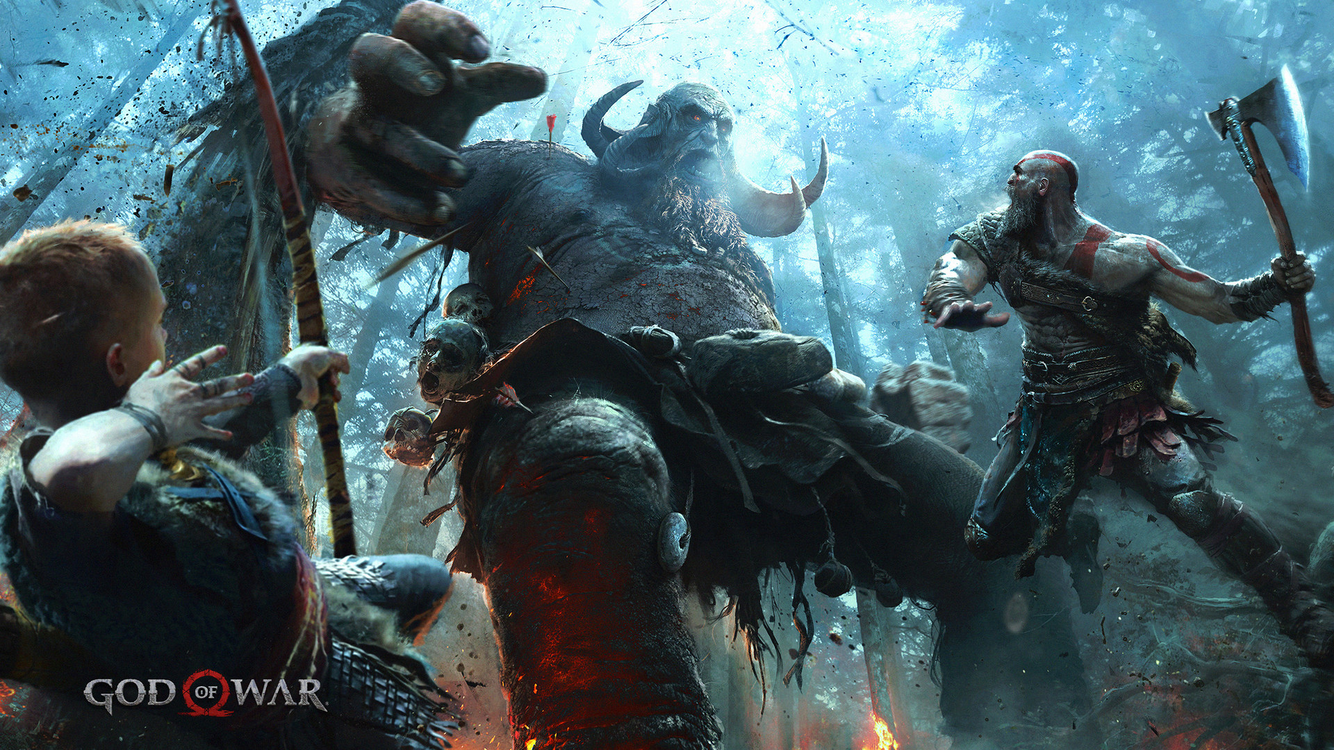 Res: 1920x1080, Kratos with his son fighting a Norse deity Wallpaper from God of War