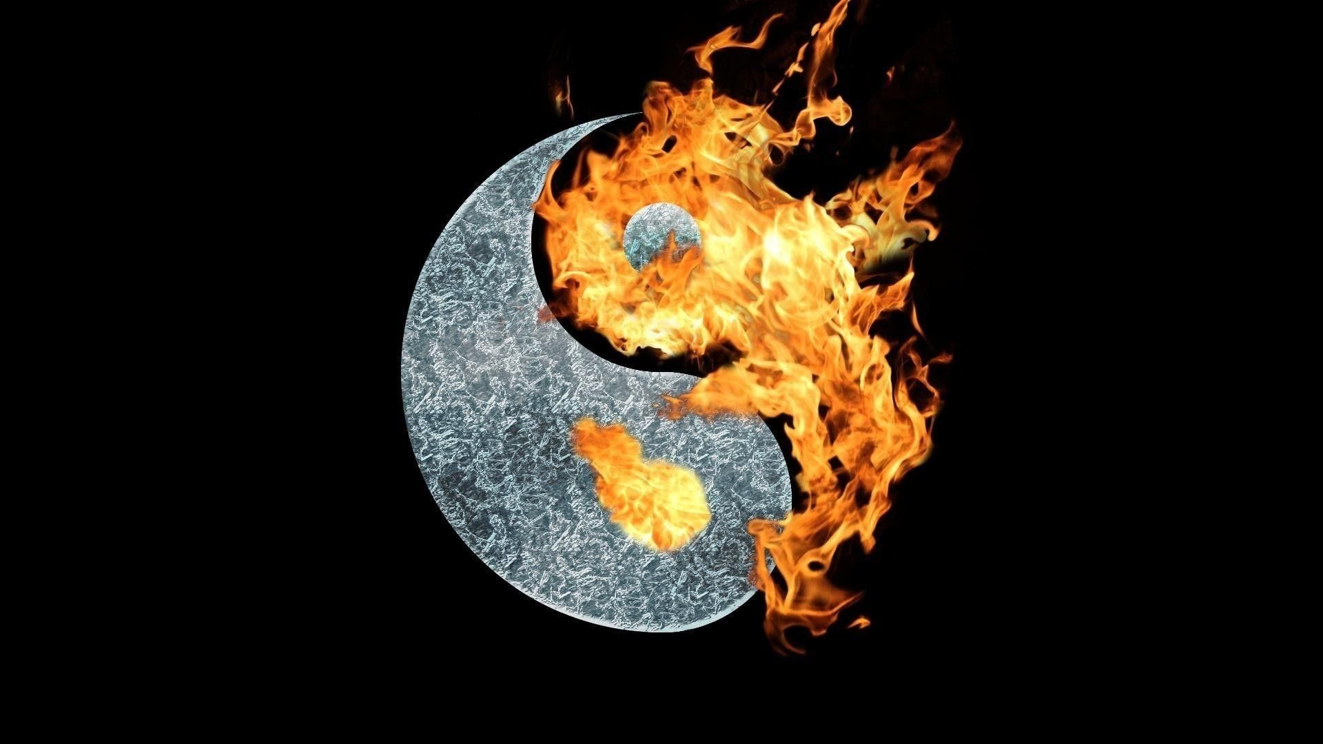 Res: 1920x1080, new cool fire yin yang symbol wallpaper hd for des