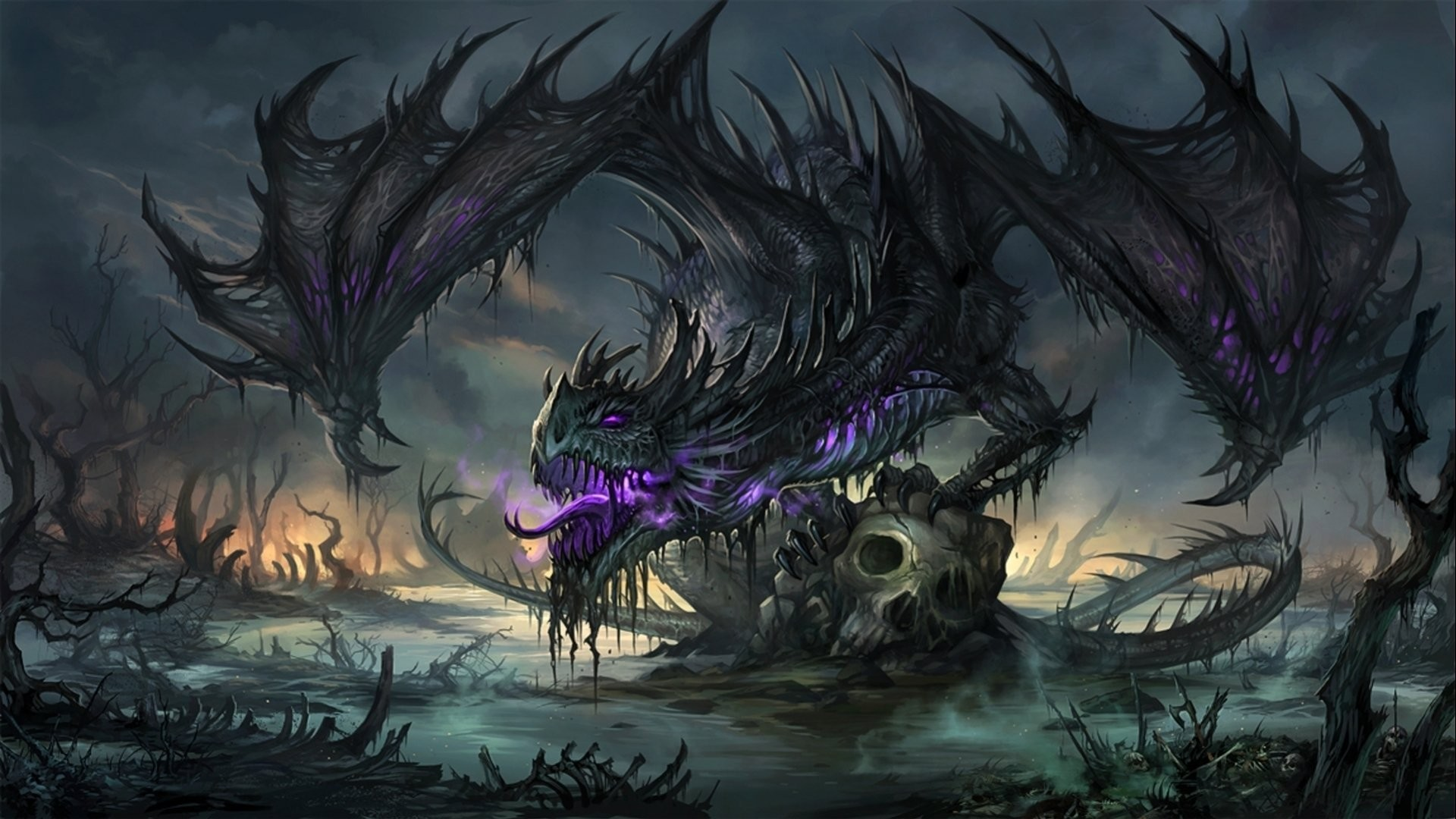 Res: 1920x1080, DRAGONS - gothic skull wings fantasy purple wallpaper |  | 525106  | WallpaperUP