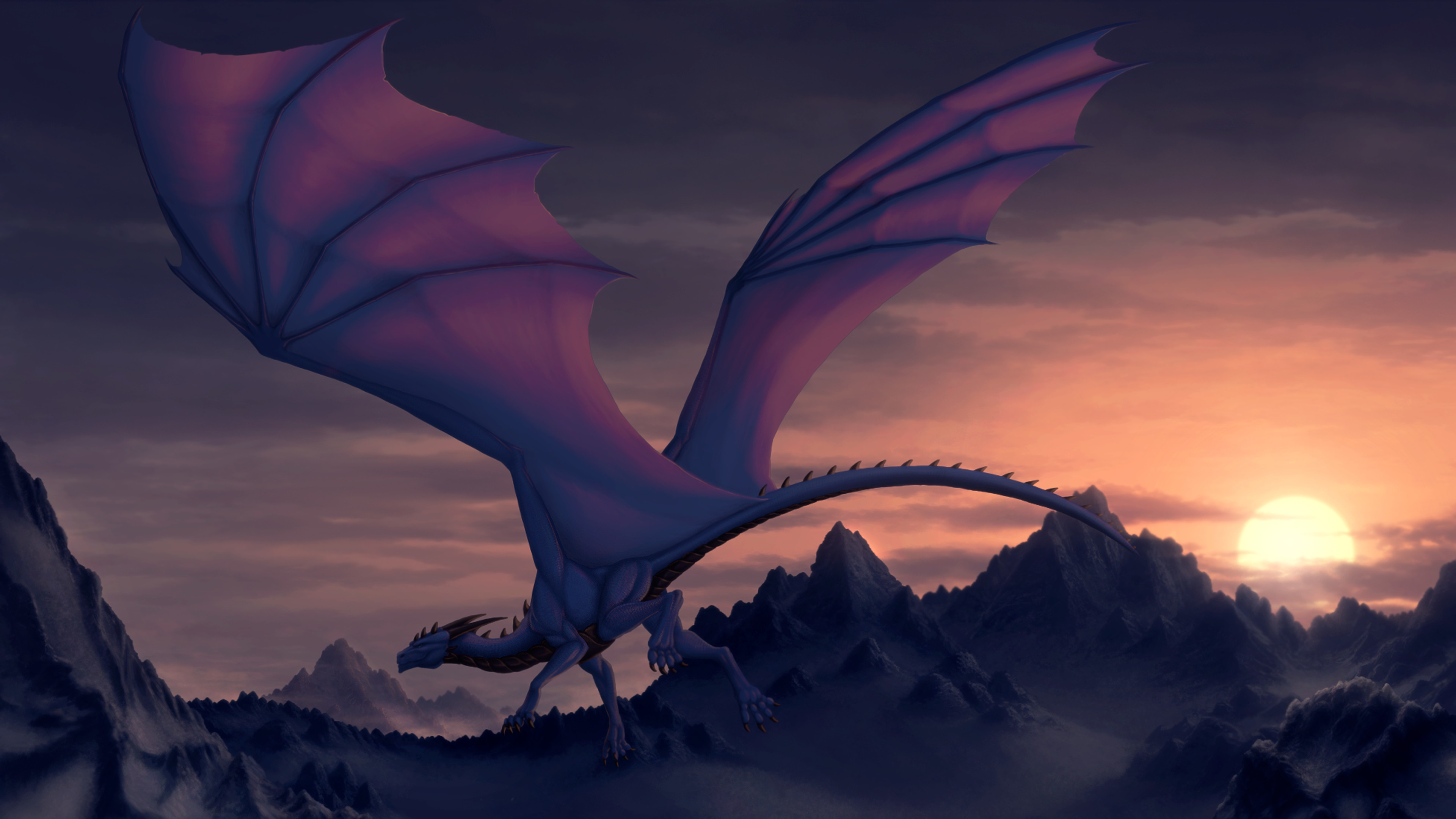 Res: 3840x2160, Images For > Purple Dragon Wallpaper