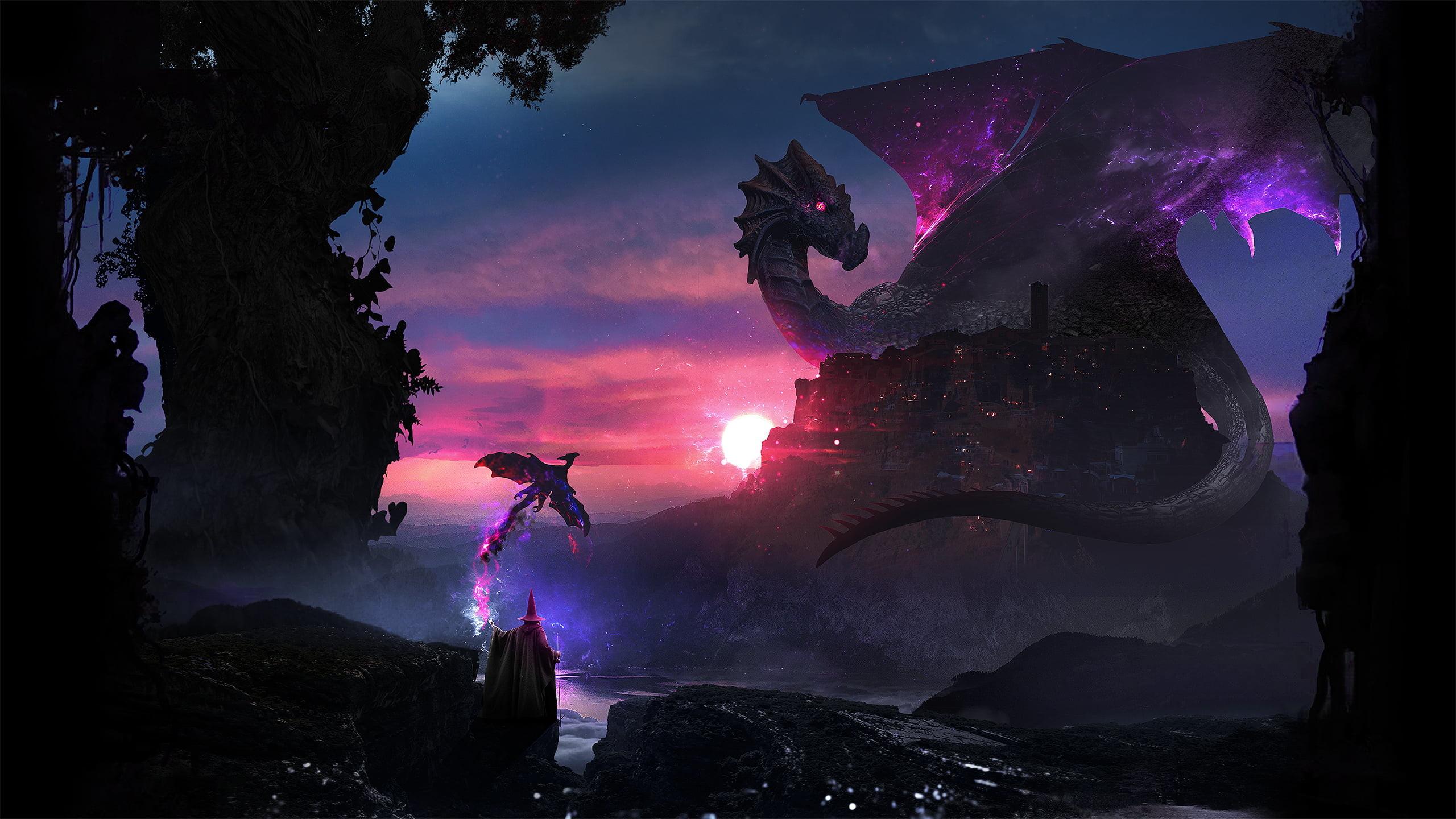 Res: 2560x1440, digital wallpaper of purple dragon resting on mountain HD wallpaper