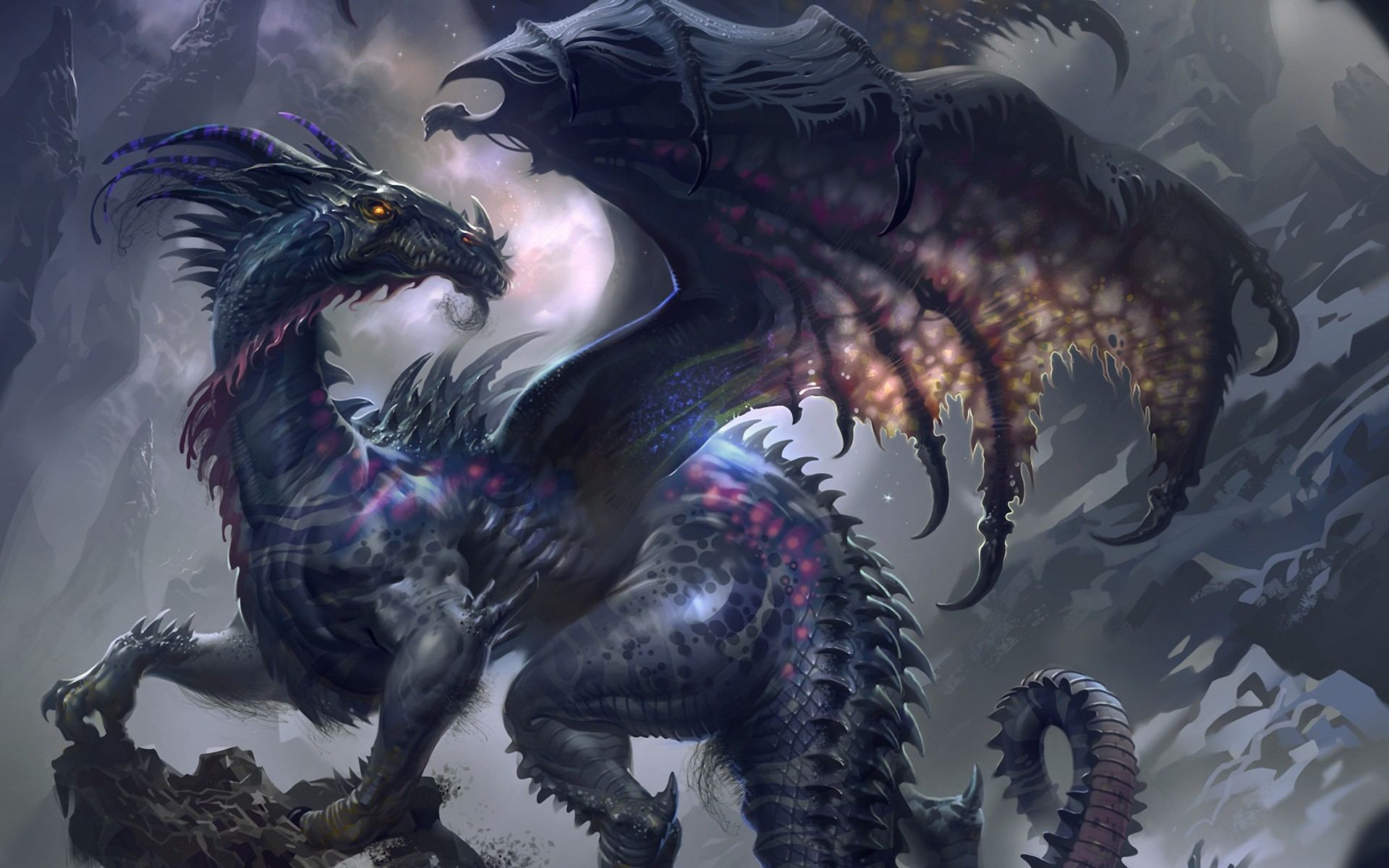 Res: 1920x1200, Purple and Grey Dragon Wallpaper