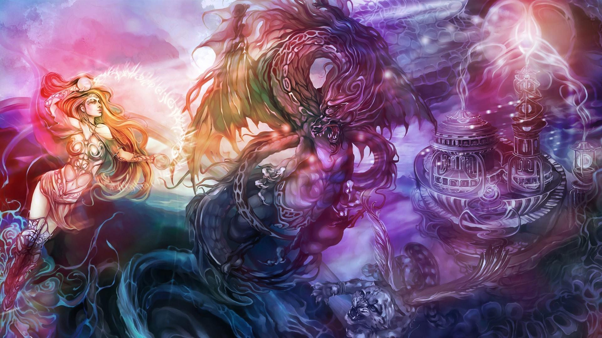 Res: 1920x1080,  Gothic Art Dragon Screensaver | fantasy art dragon magic women  females girls castle dark wallpaper