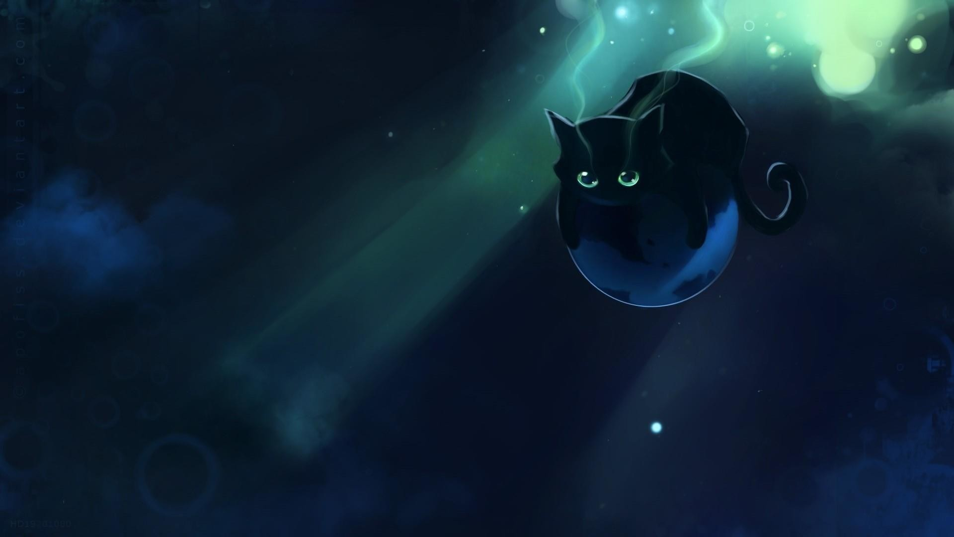 Res: 1920x1080, Black Space Cat Wallpaper | Wallpaper Studio 10 | Tens of thousands HD and  UltraHD wallpapers for Android, Windows and Xbox