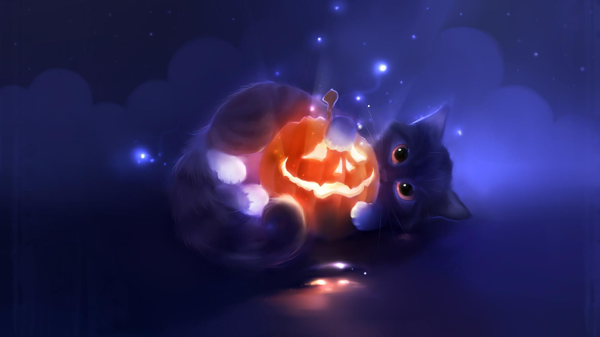 Res: 1920x1080, Cute Halloween Cat Desktops Wallpapers