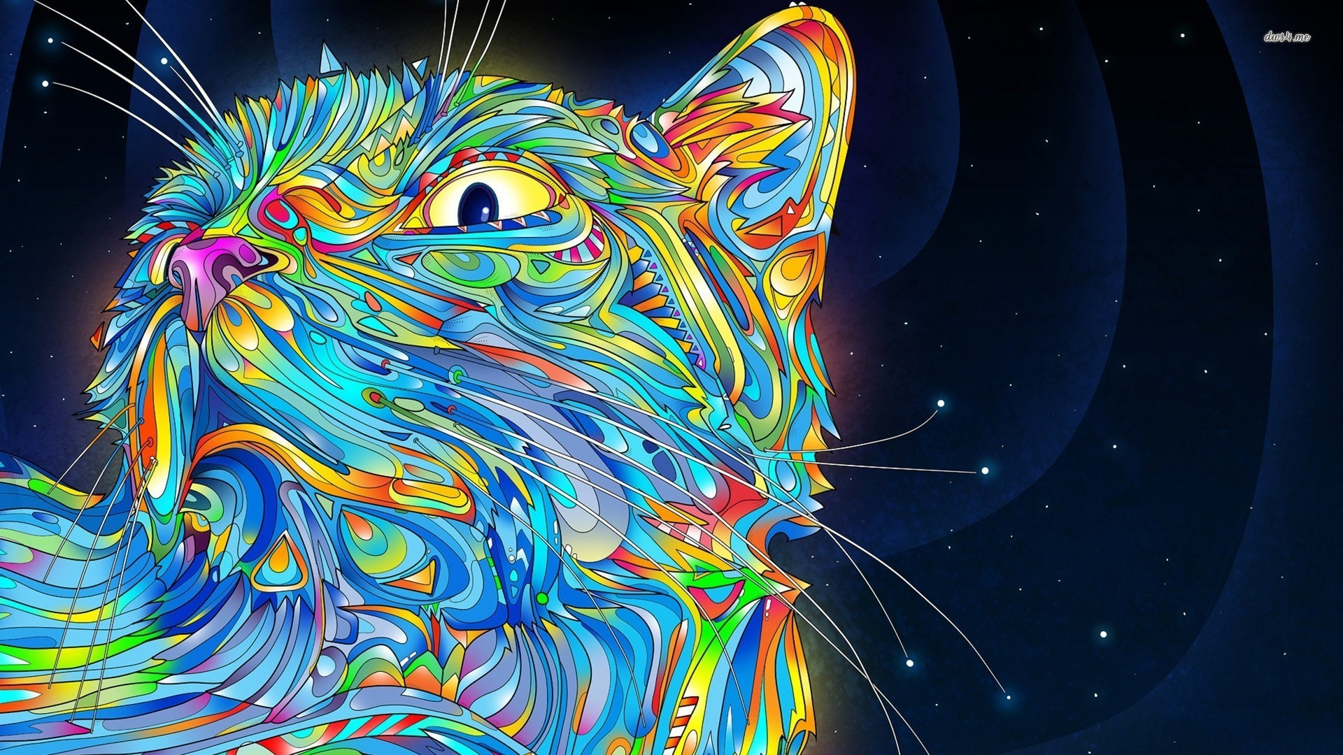 Res: 1920x1080, ... Colorful stylized cat wallpaper  ...