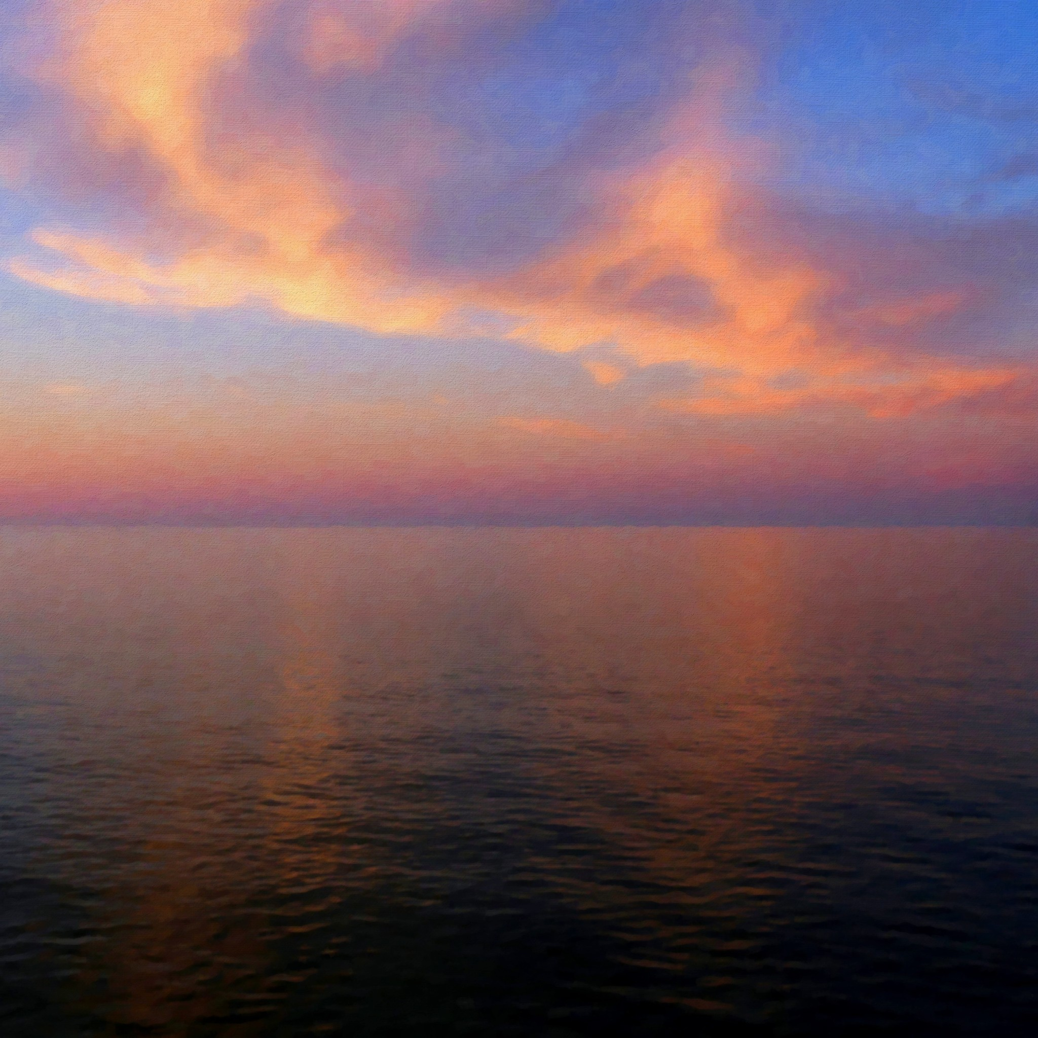Res: 2048x2048, Calm-Sunset-Skyview-Ocean-Pure-ipad-air-wallpaper-ilikewallpaper_com