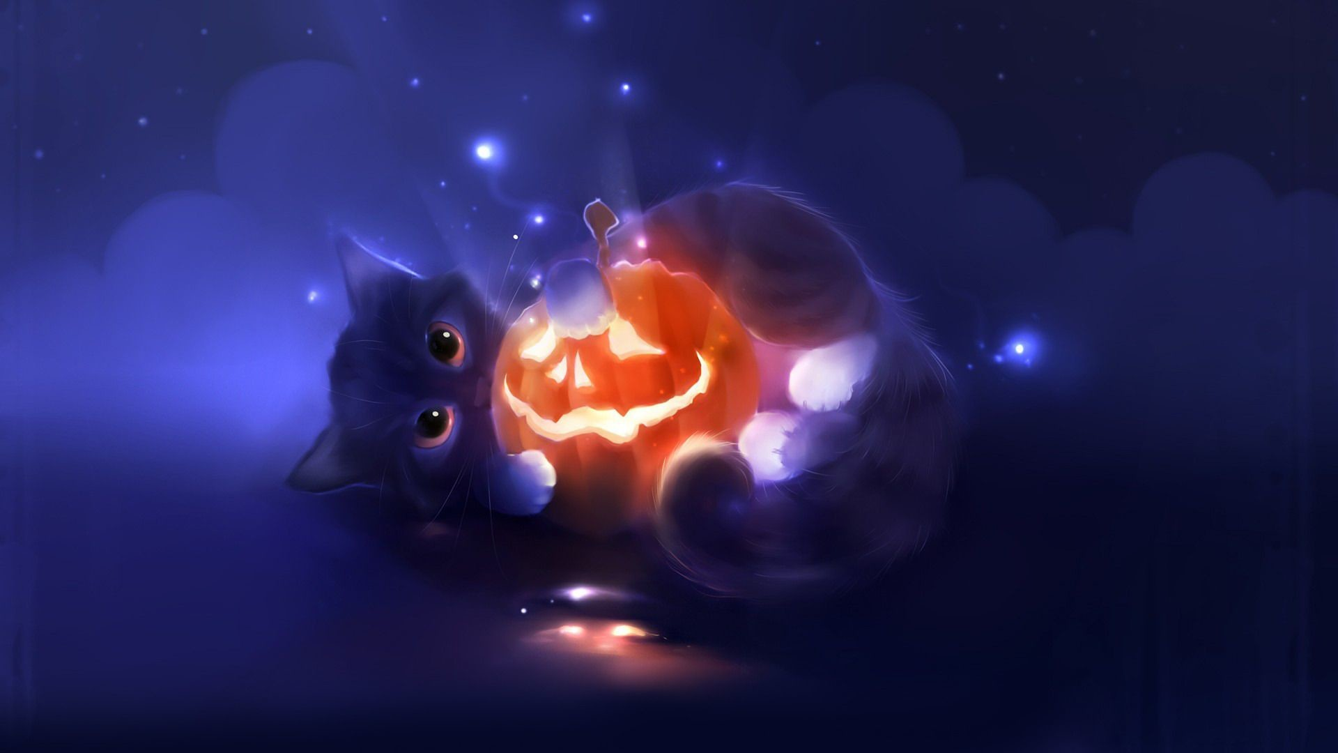 Res: 1920x1080, Cute Cat Playing With Pumpkin (id: