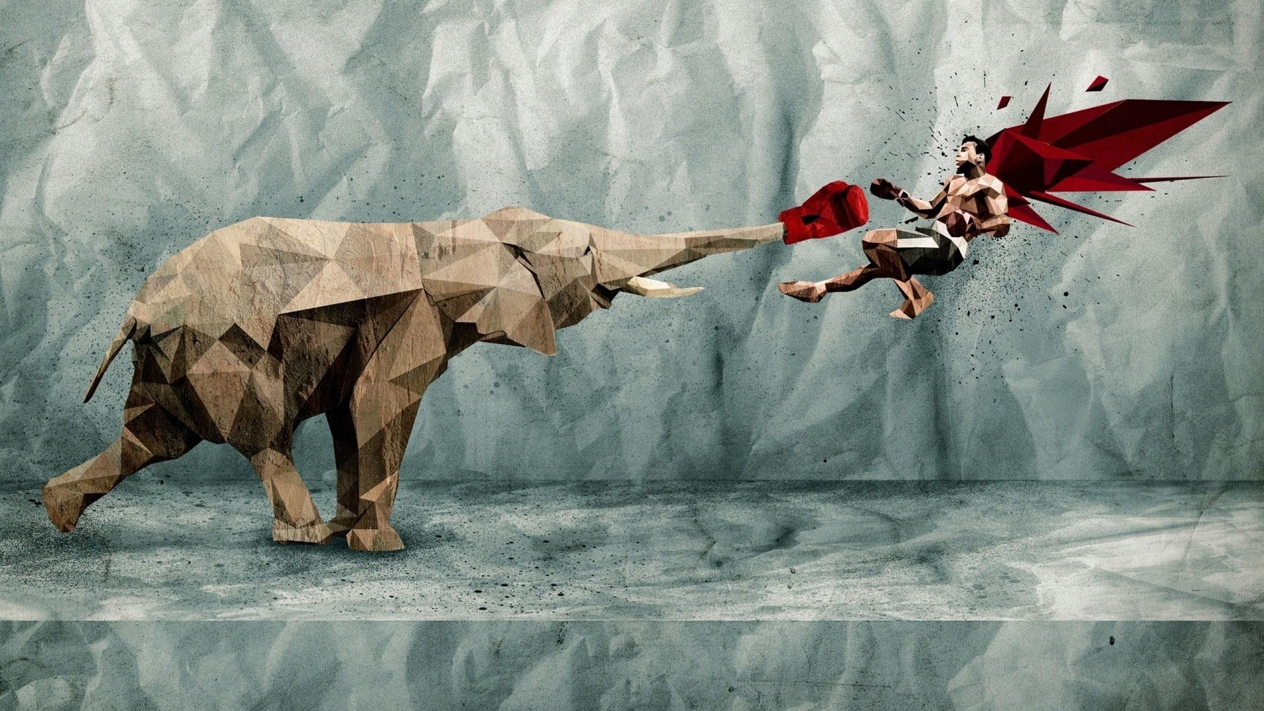 Res: 2560x1440, wallpaper digital art · elephants · boxing gloves