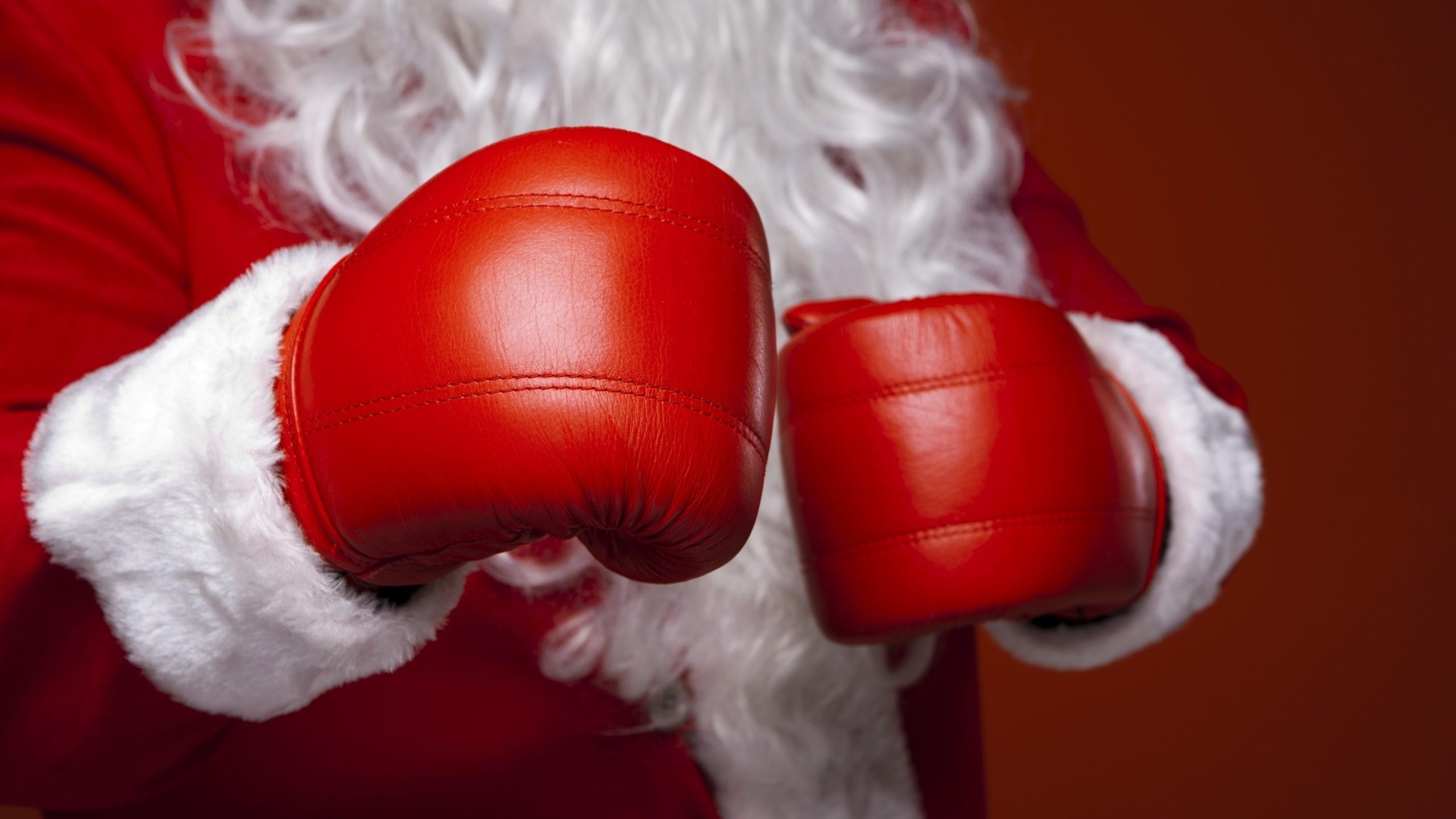 Res: 2560x1440, Christmas Santa Claus Boxing Glove | 2560 x 1440 ...