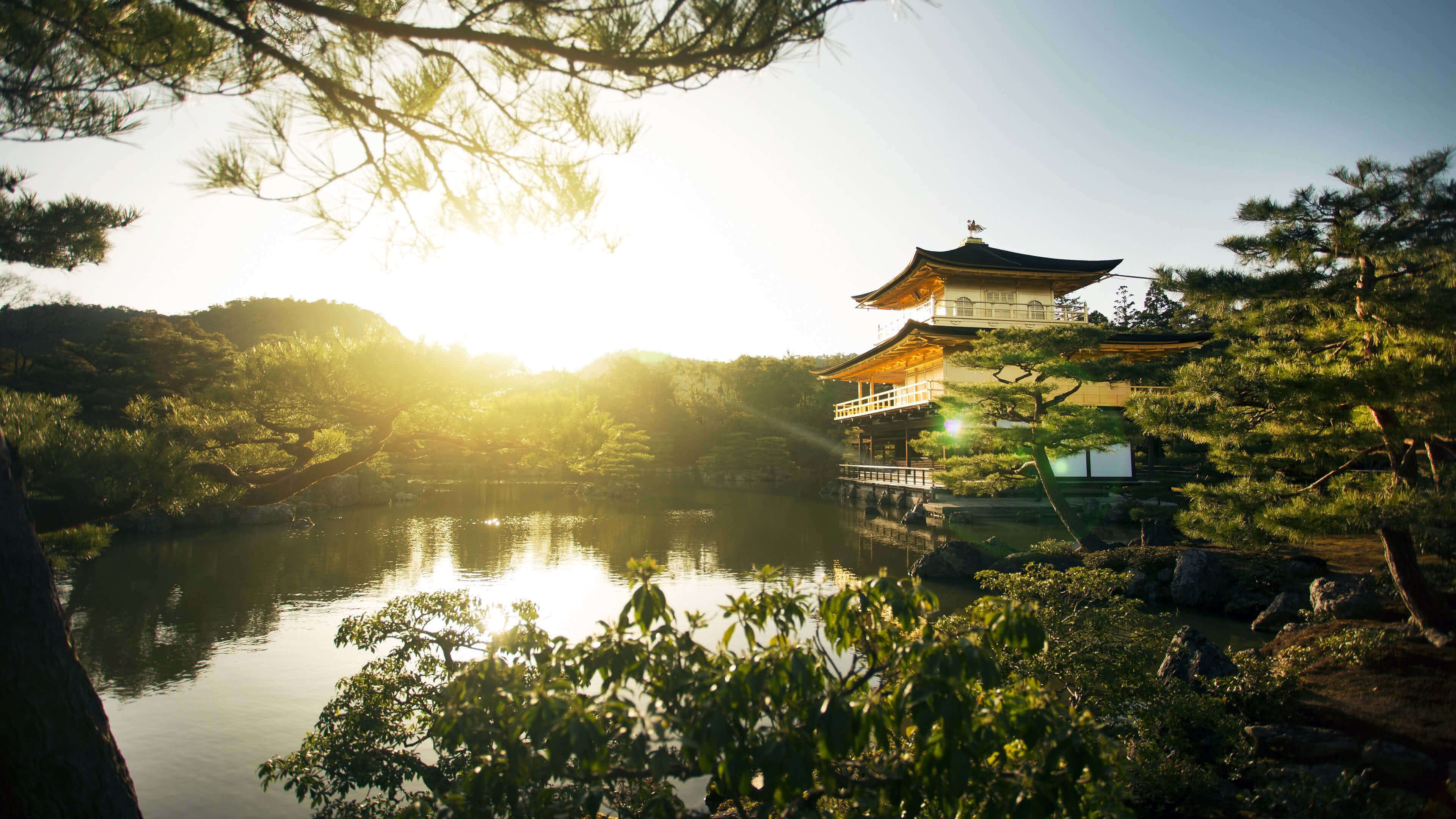 Res: 3840x2160, temple of the golden pavilion kinkaku ji kyoto japan 4k wallpaper